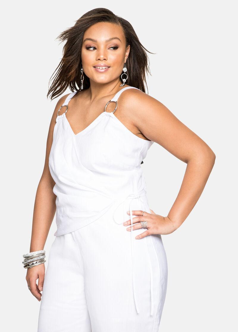 Buy Metal Ring Linen Jumpsuit White - Dresses