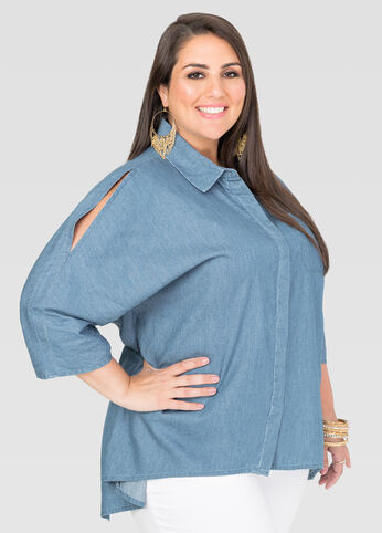 Hi-Lo Split Back Denim Shirt - Tops