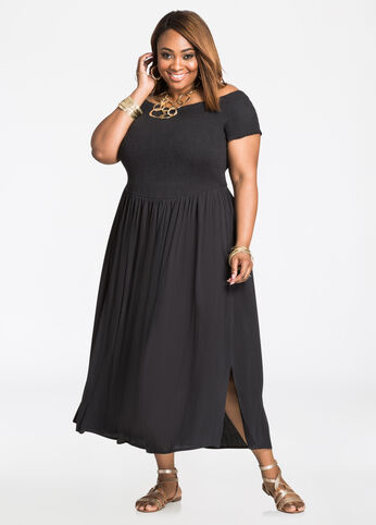 Smocked Top Off-Shoulder Maxi Dress