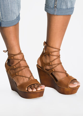 Strappy Lace-Up Wedge Sandal - Wide Width