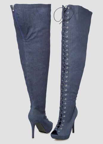 Denim Thigh High Boot - Wide Width Wide Calf - Shoes