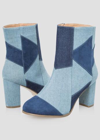 Denim Patchwork Bootie - Wide Width - Shoes