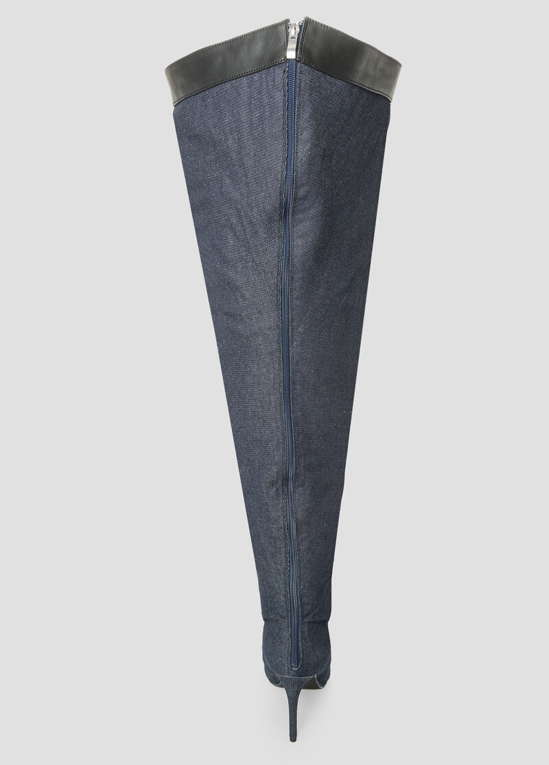 Buy Denim Thigh High Boot - Wide Calf, Wide Width - Shoes