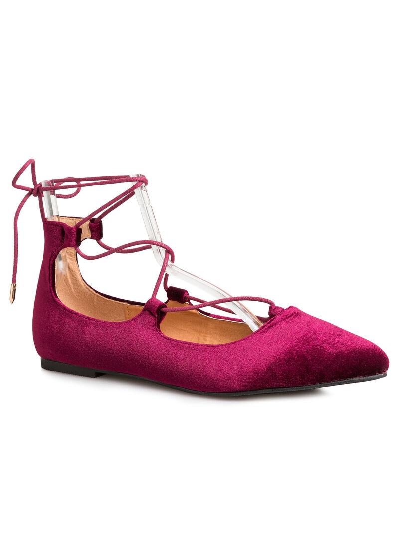 buy laceup velvet ballet flat wide width plum purple