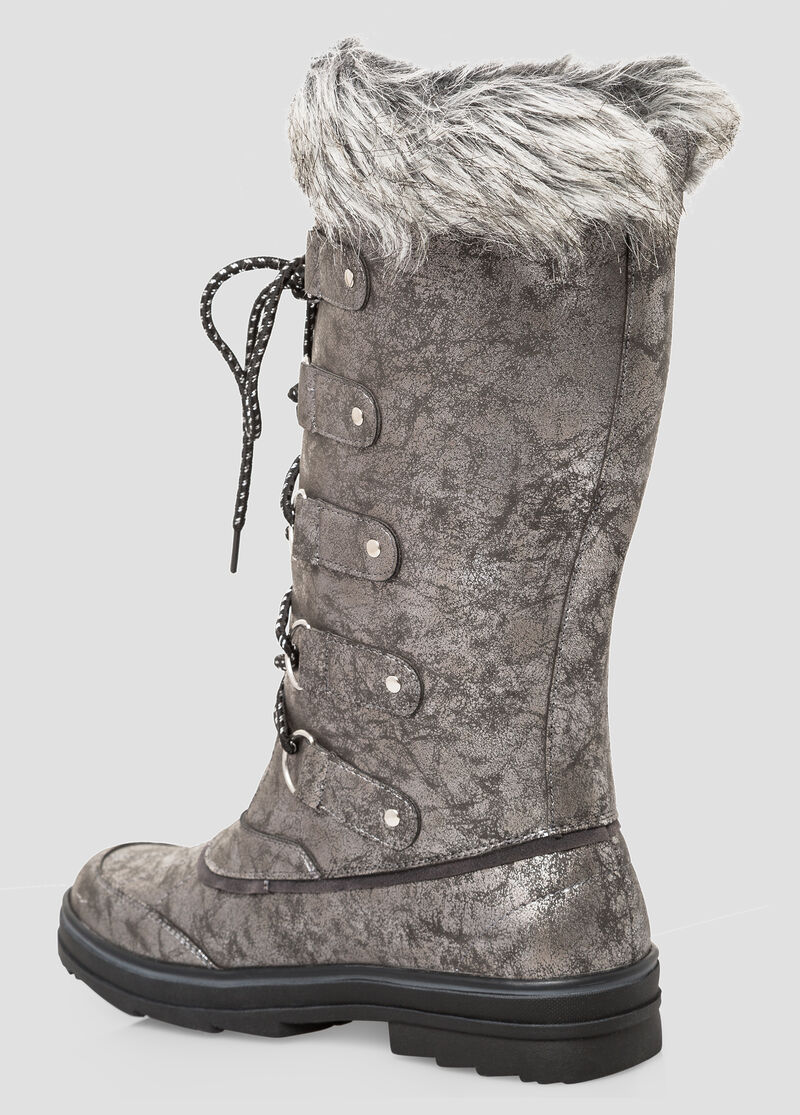 Buy Lace-Up Fur Top Snow Boot - Wide Calf, Wide Width Grey - Shoes