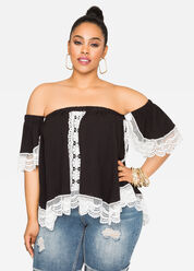 Off-Shoulder Crocheted Top