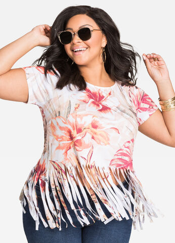 Tropical Print Fringe Top