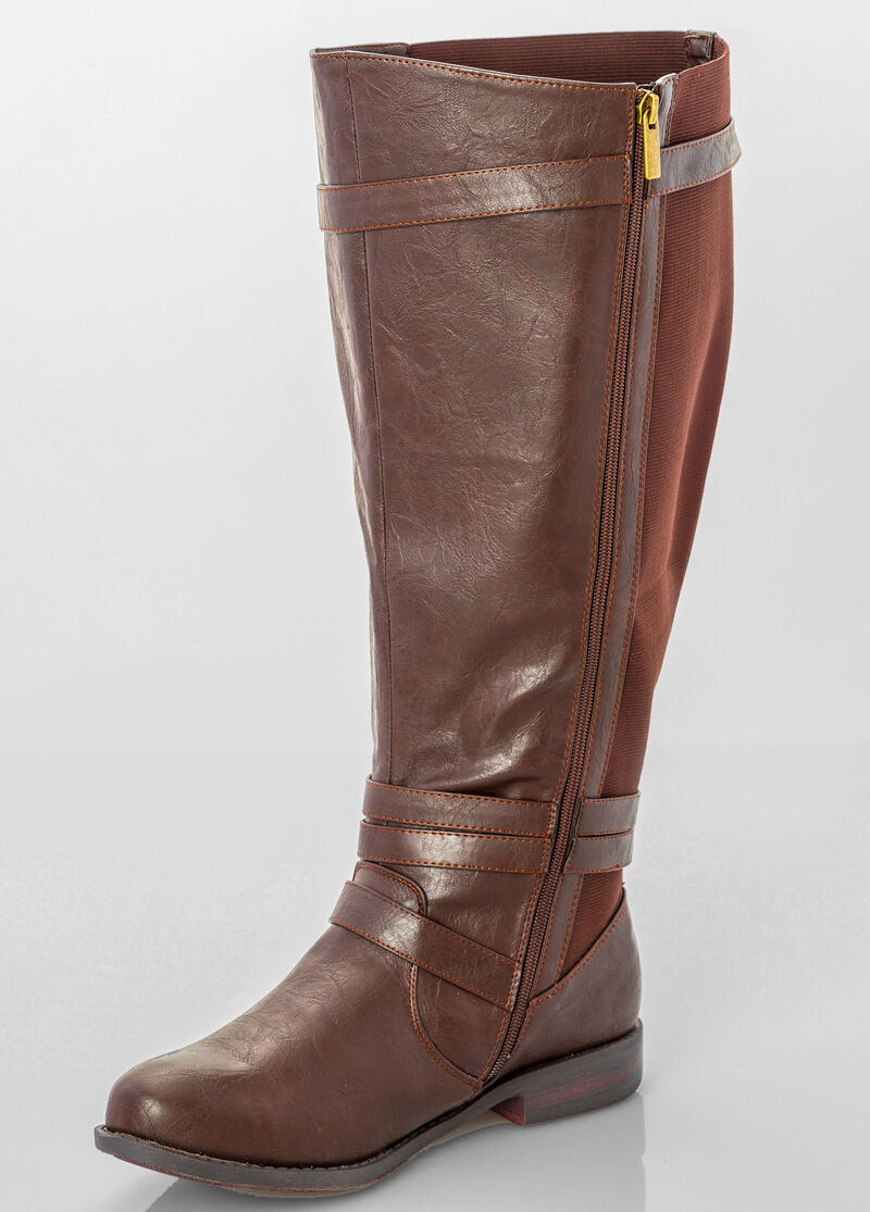 Buy Slim Buckle Stretch Back Flat Tall Boot - Extra Wide Width ...