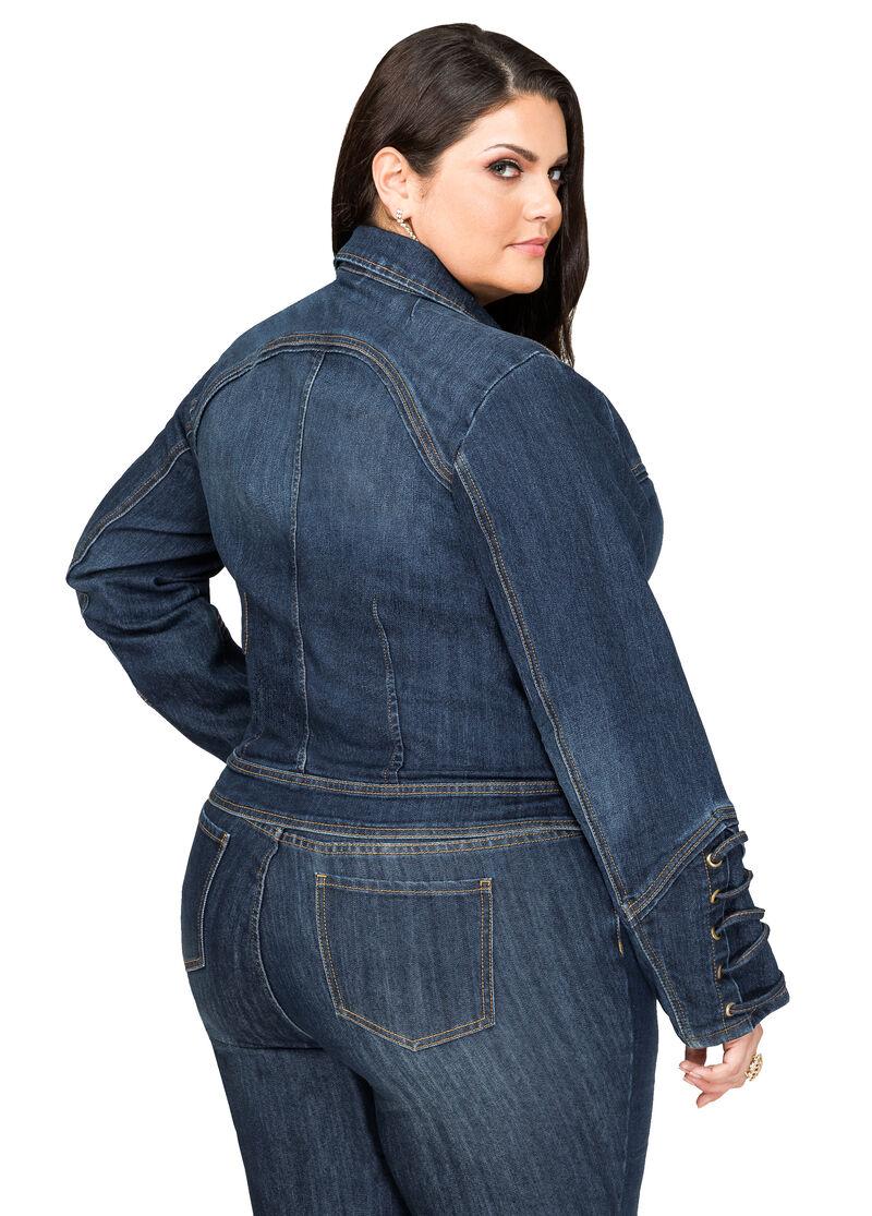 Buy Lace-Up Sleeve Jean Jacket Indigo