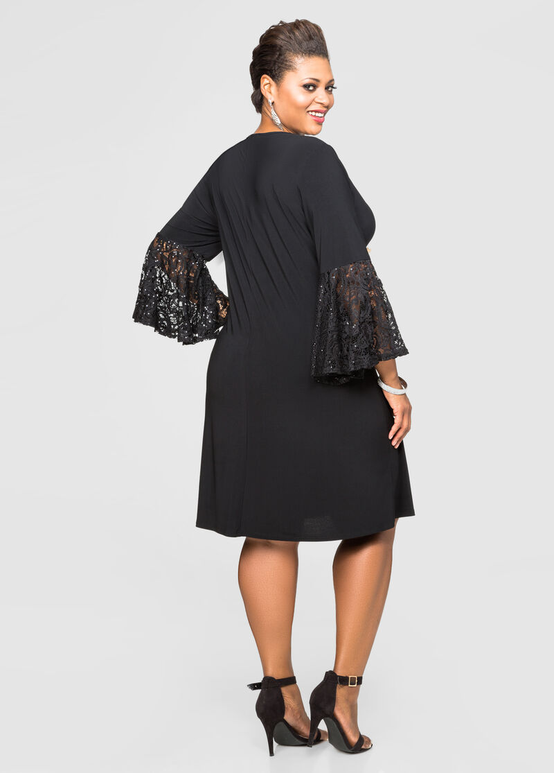 Buy Sequin Bell Sleeve Dress Black - Dresses