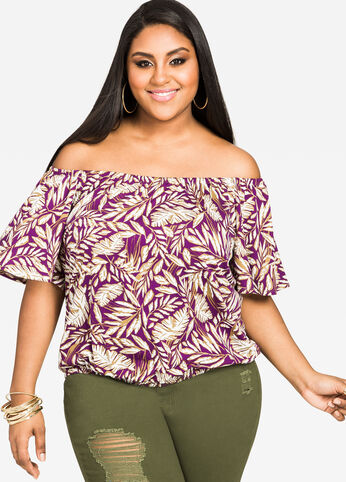 Tropical Print Bubble Top