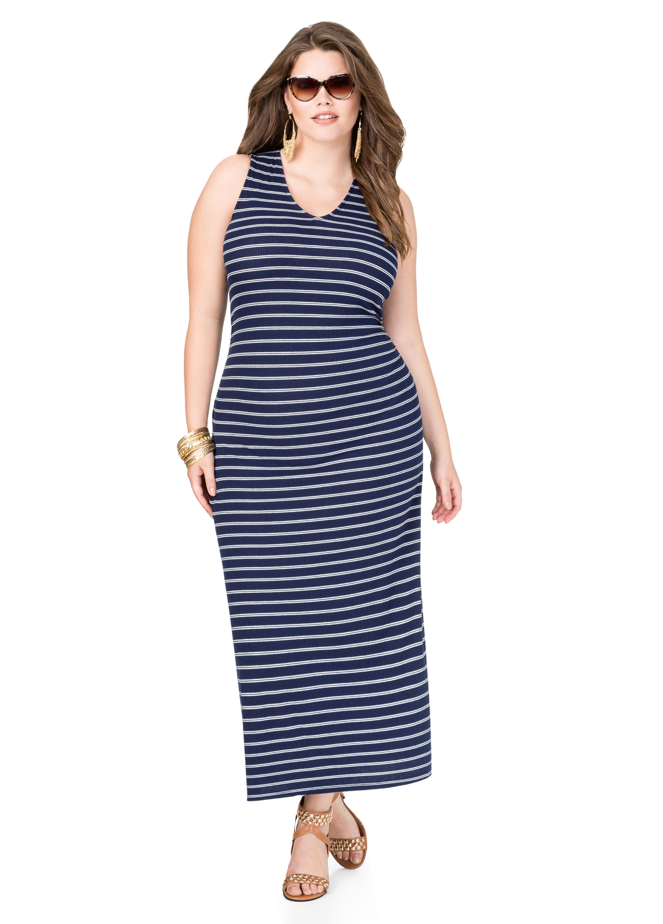 Striped Ribbed Knit Maxi Dress