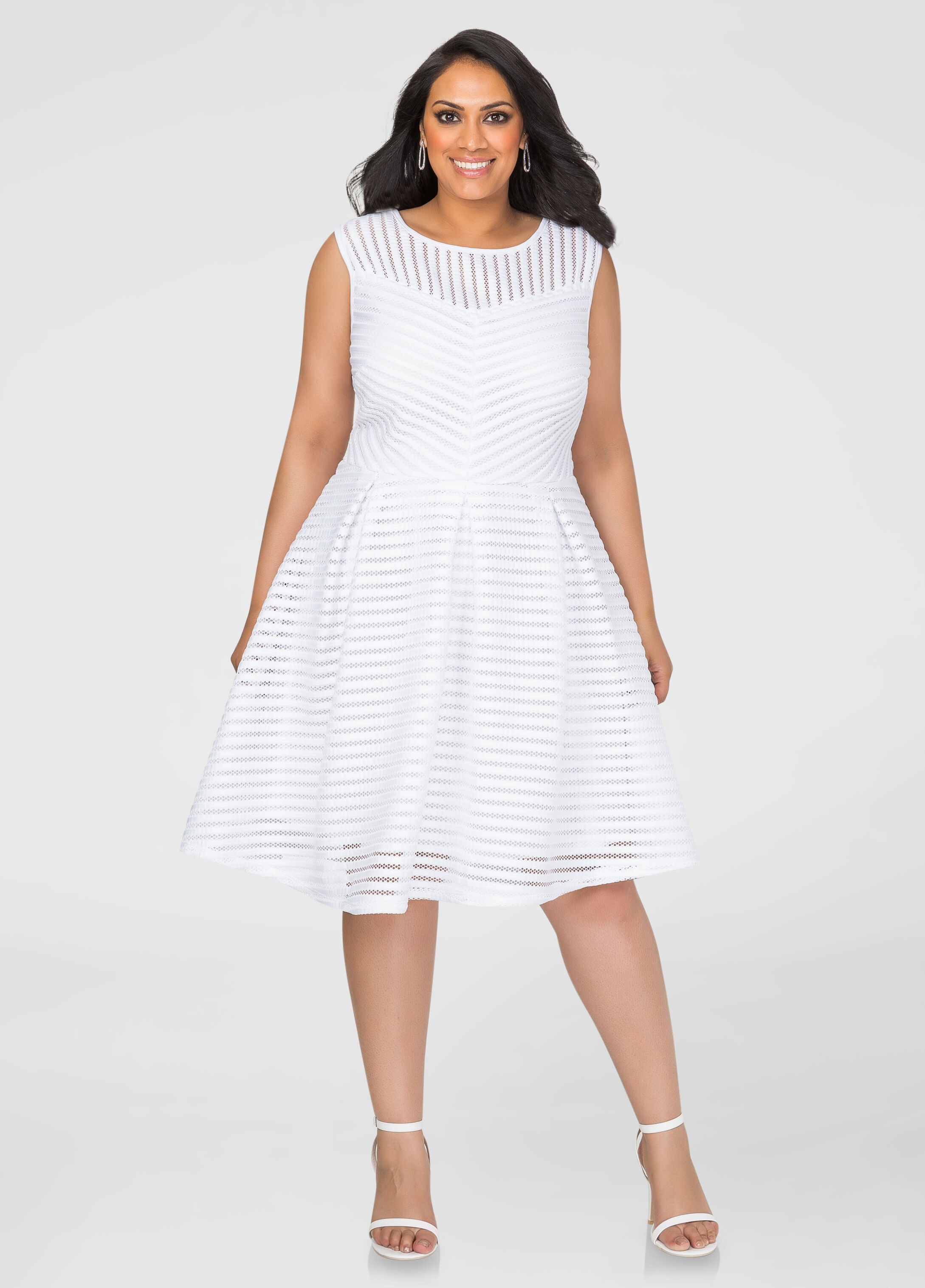 Mesh Stripe Skater Dress