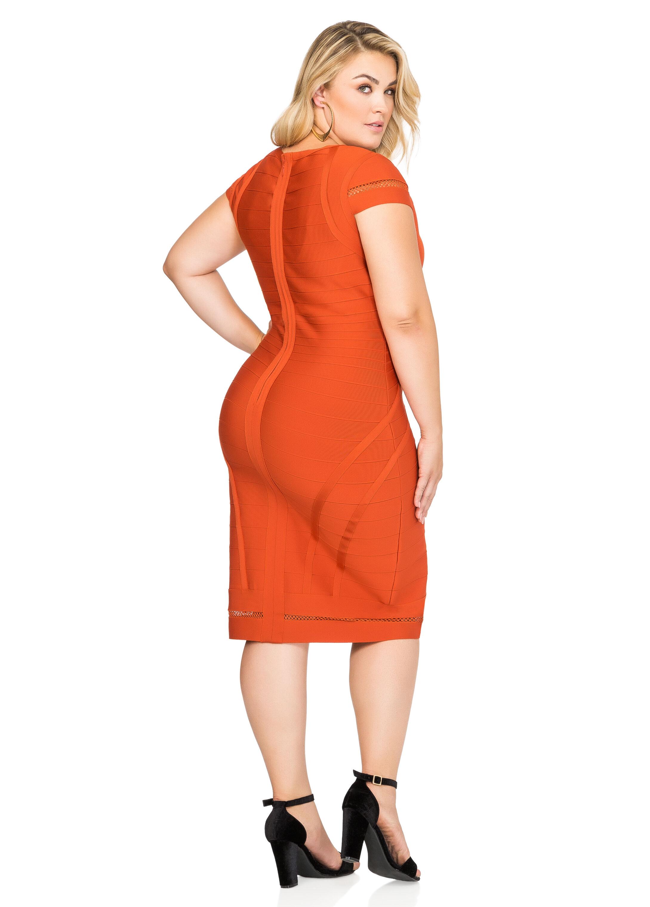 Mesh Trim Bodycon Bandage Dress