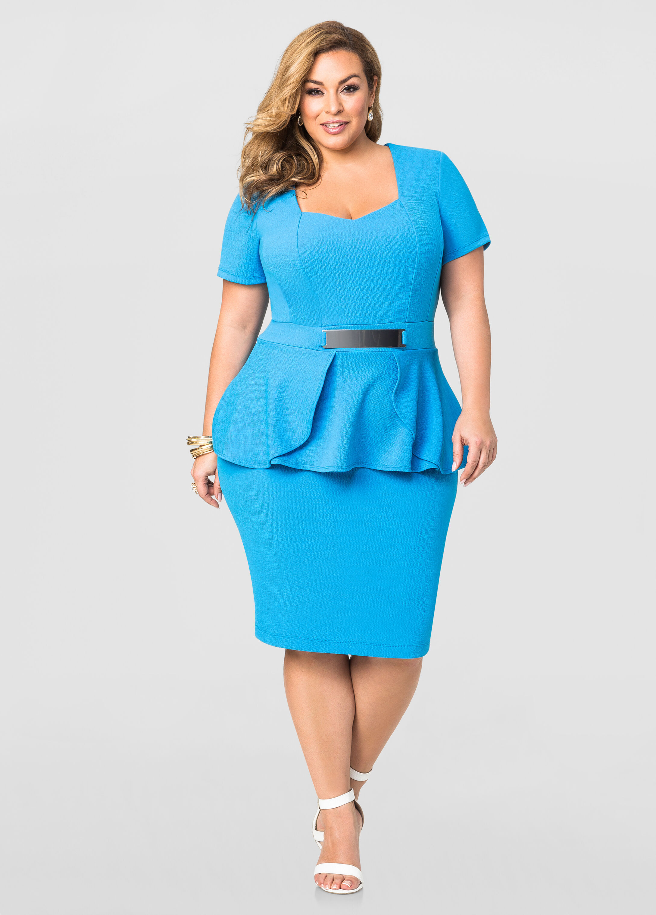 Gold Plate Peplum Dress-Plus Size Dresses-Ashley Stewart-010-11269X