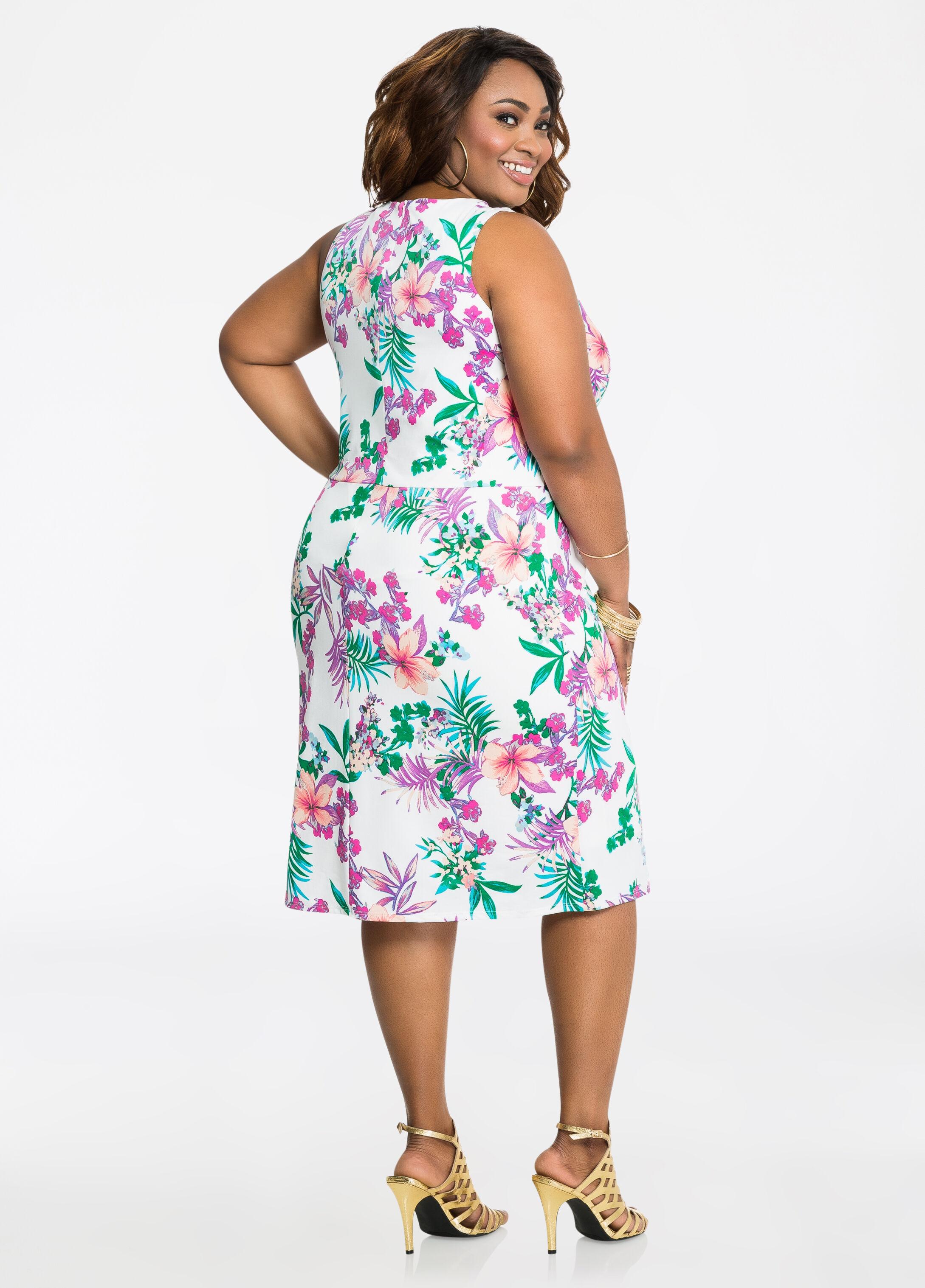 Tropical Print Knot Waist Dress