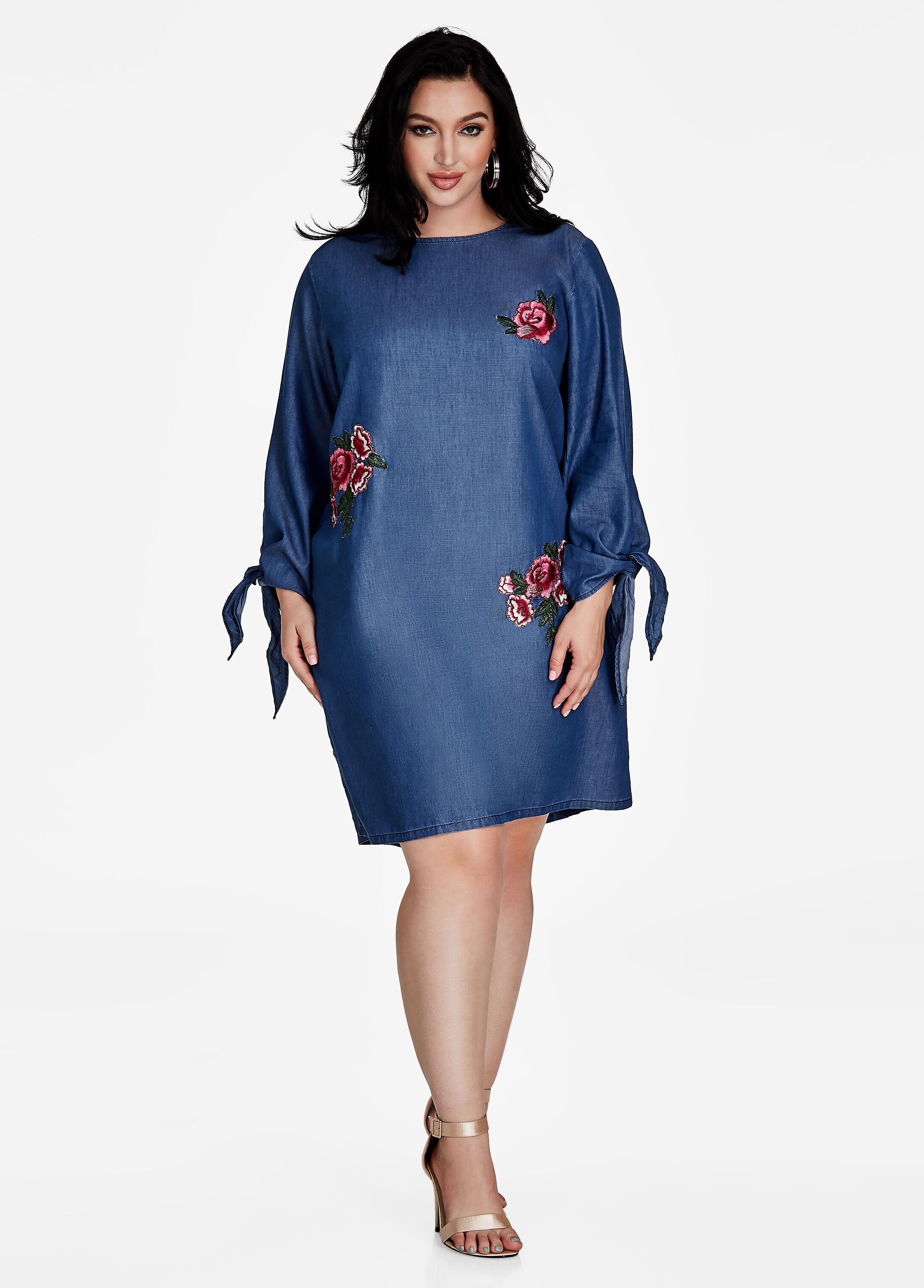 Floral Applique Denim Dress
