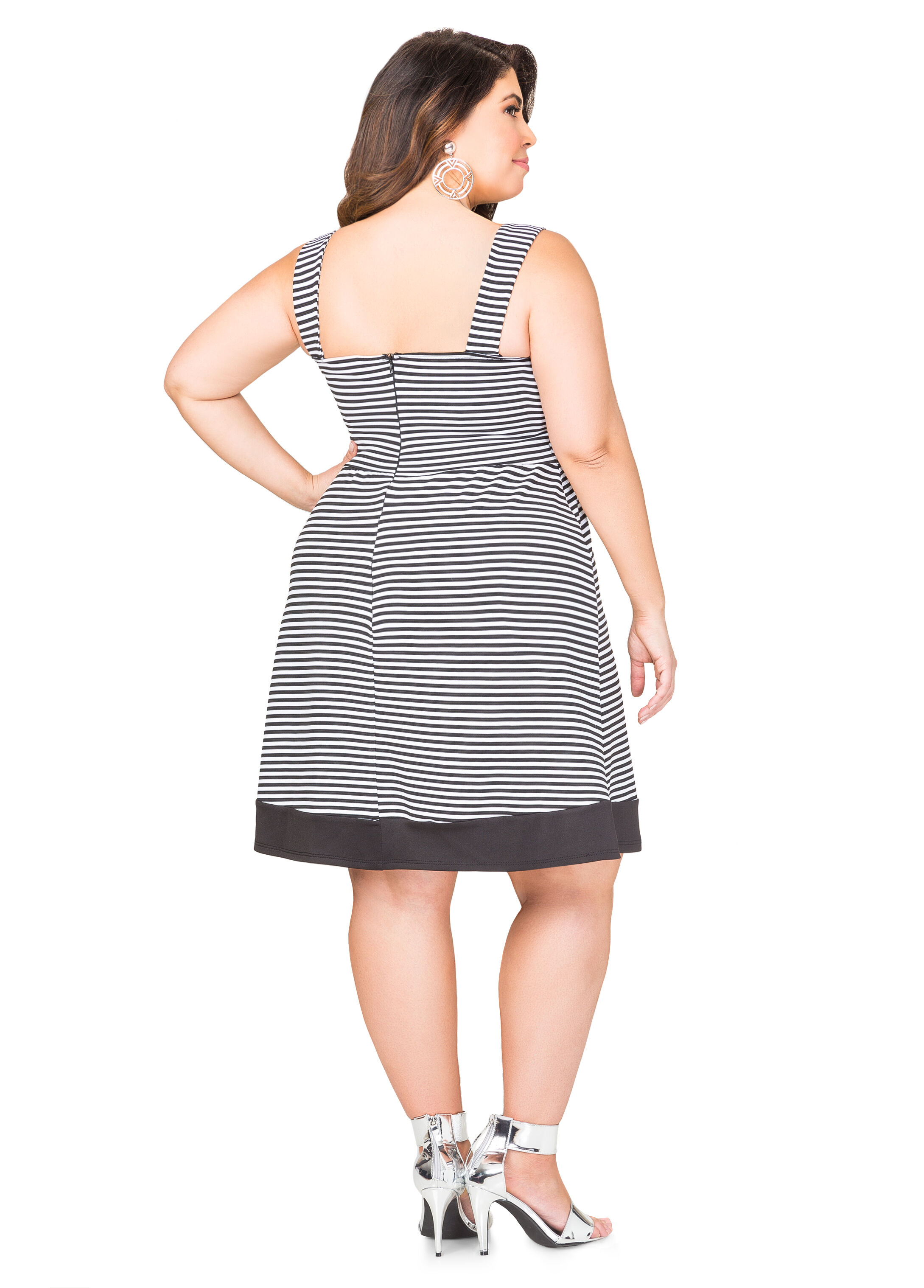 Blocked Hem Striped Dress