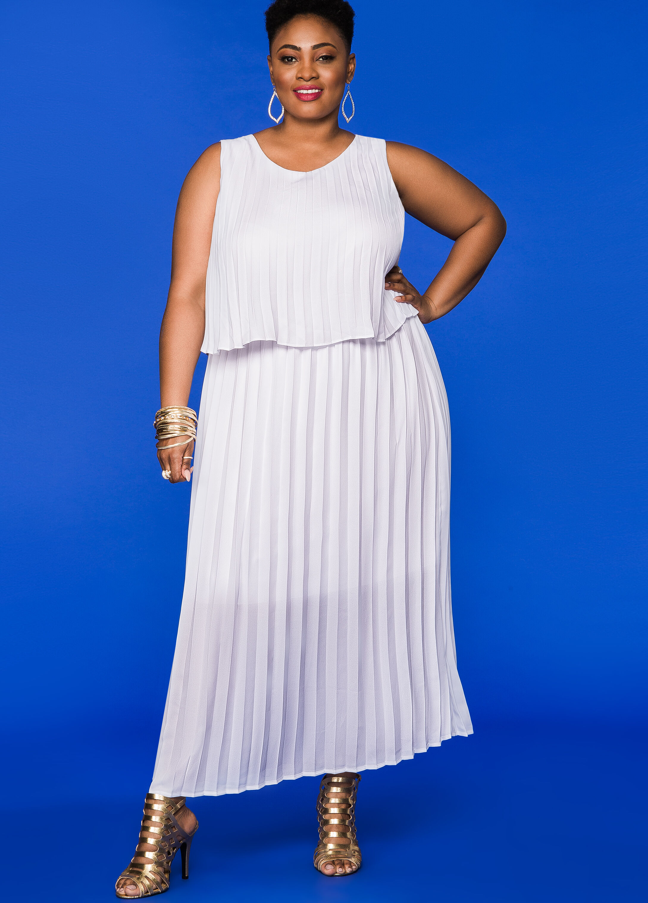 Pleated Tiered Maxi Dress