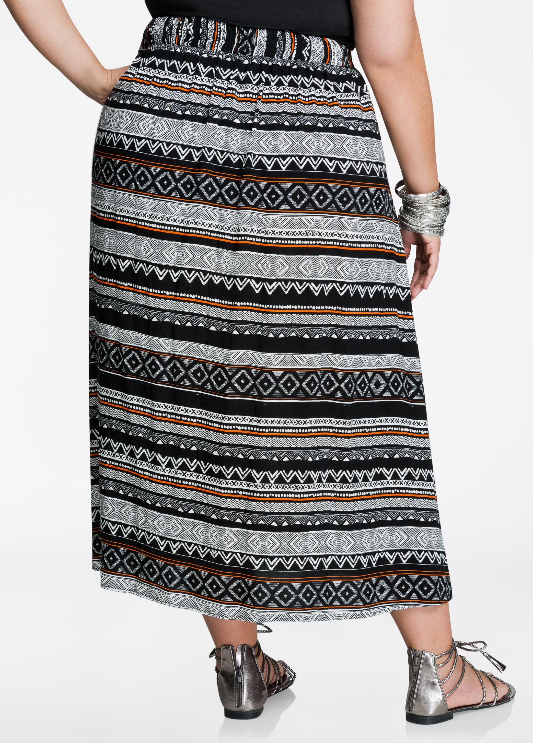 Tribal Print Lace-Up Maxi Skirt