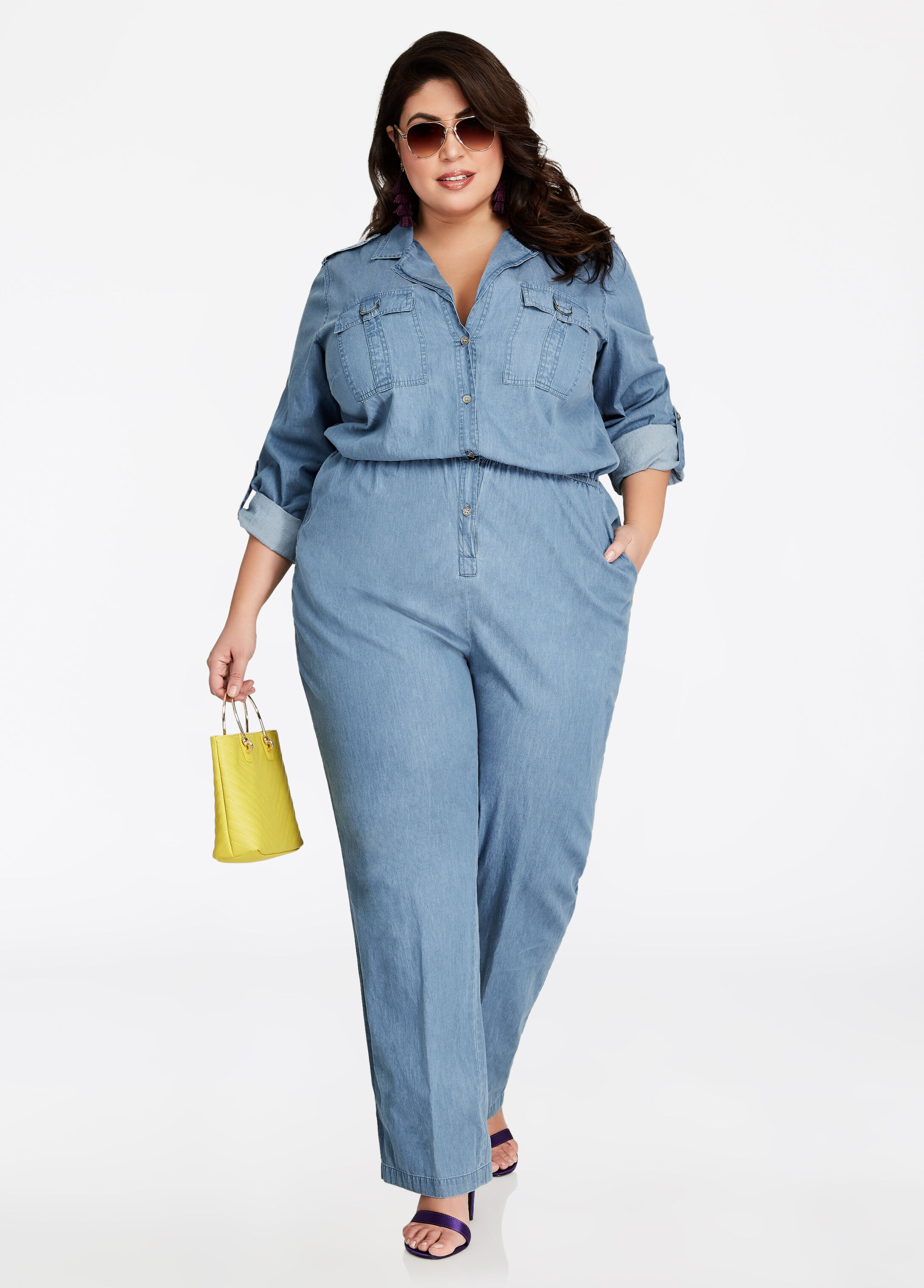 Long Sleeve Allover Denim Jumpsuit