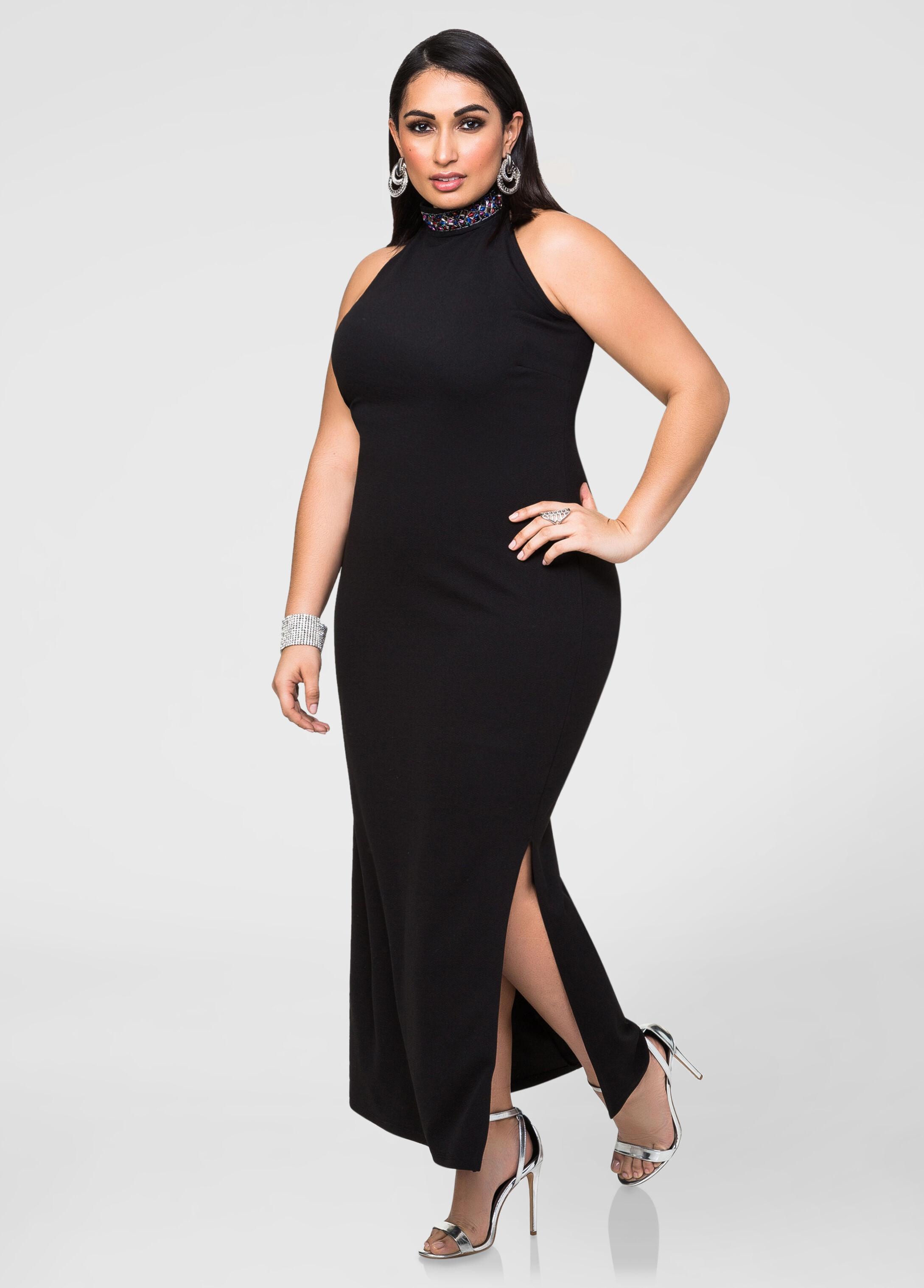 Beaded mock neck maxi dress plus size tops ashley stewart for Ashley stewart wedding dresses