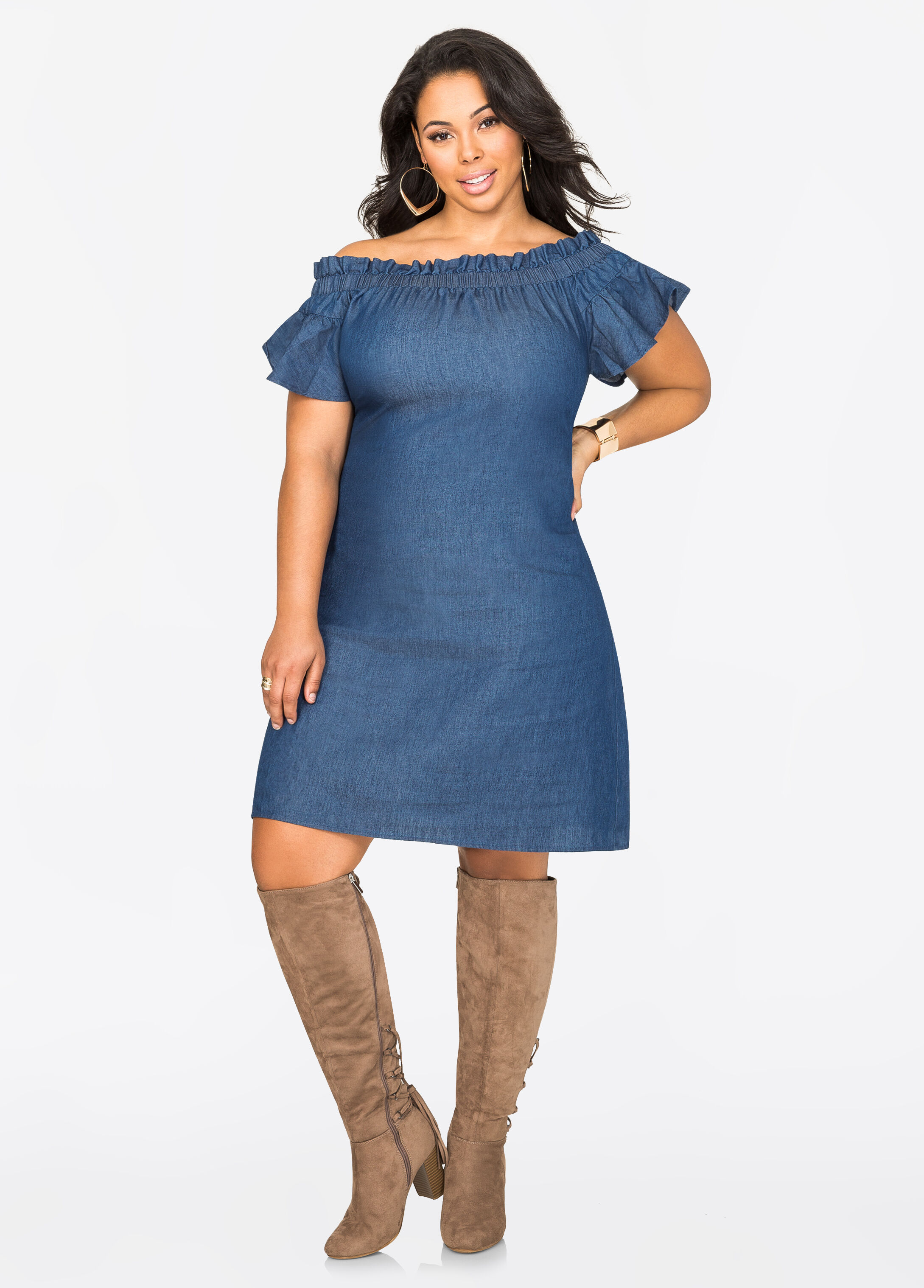 Ruffle Top Off-Shoulder Dress
