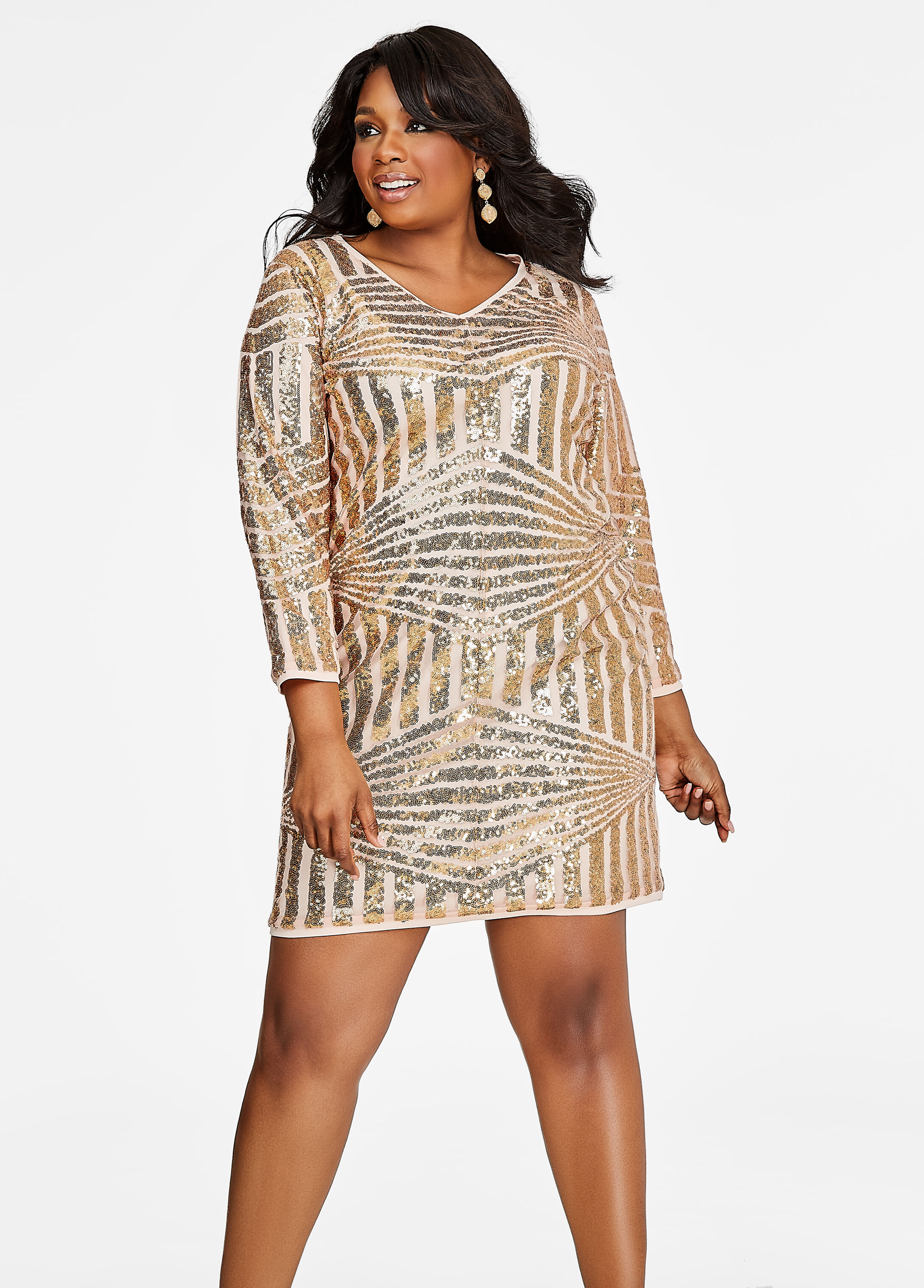 Geo Sequin Pattern Dress