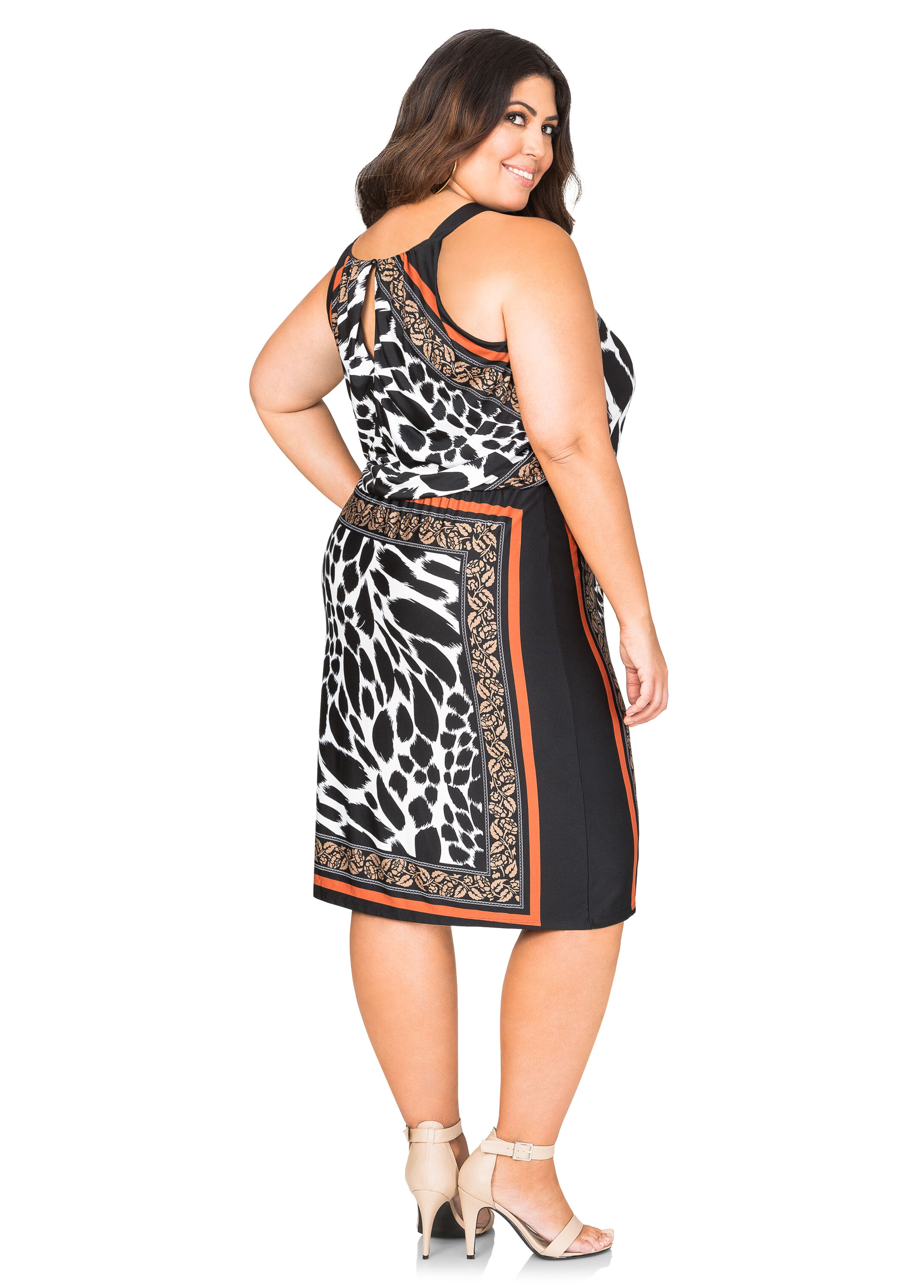 Blouson Animal Print Halter Dress