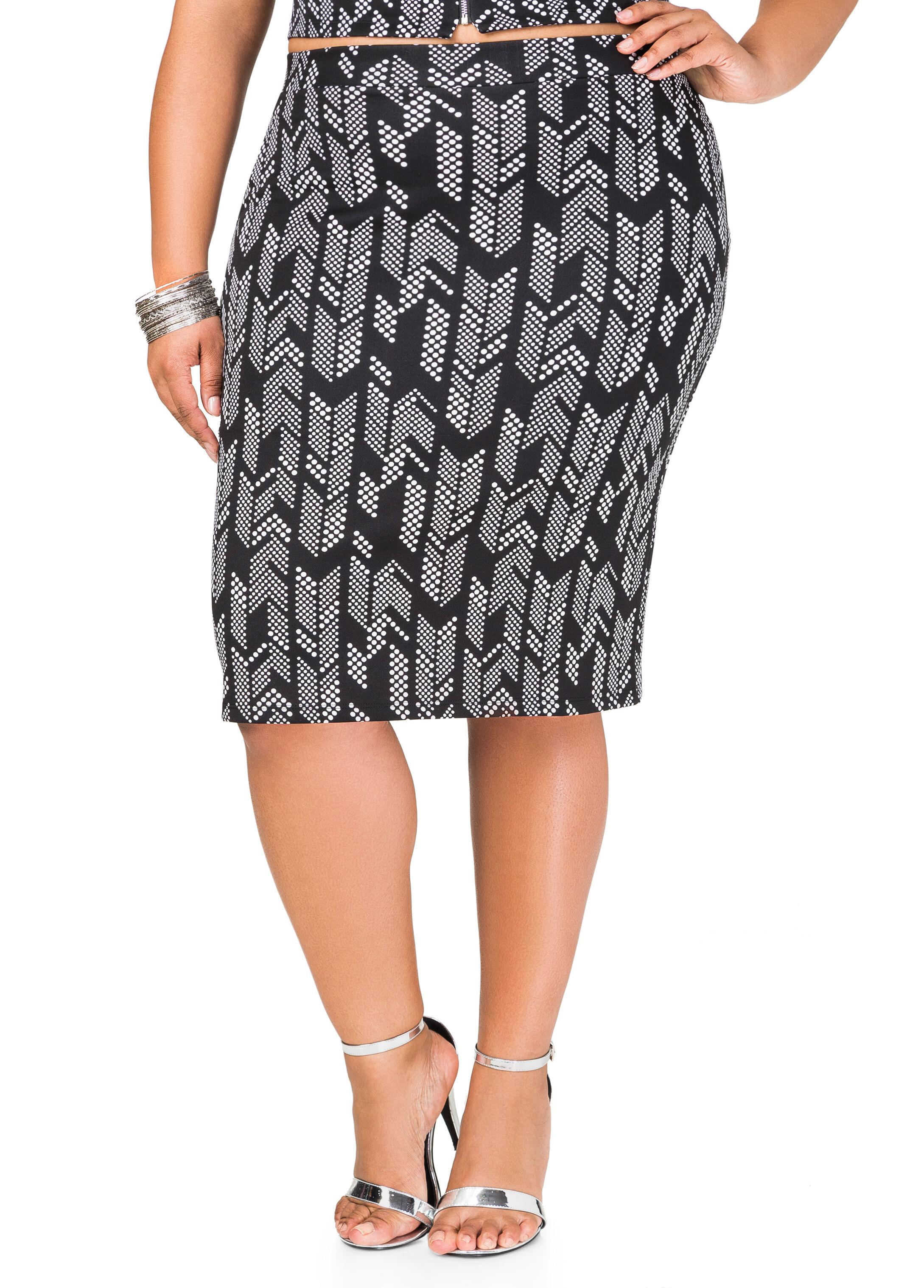 Dot Arrow Slim Skirt