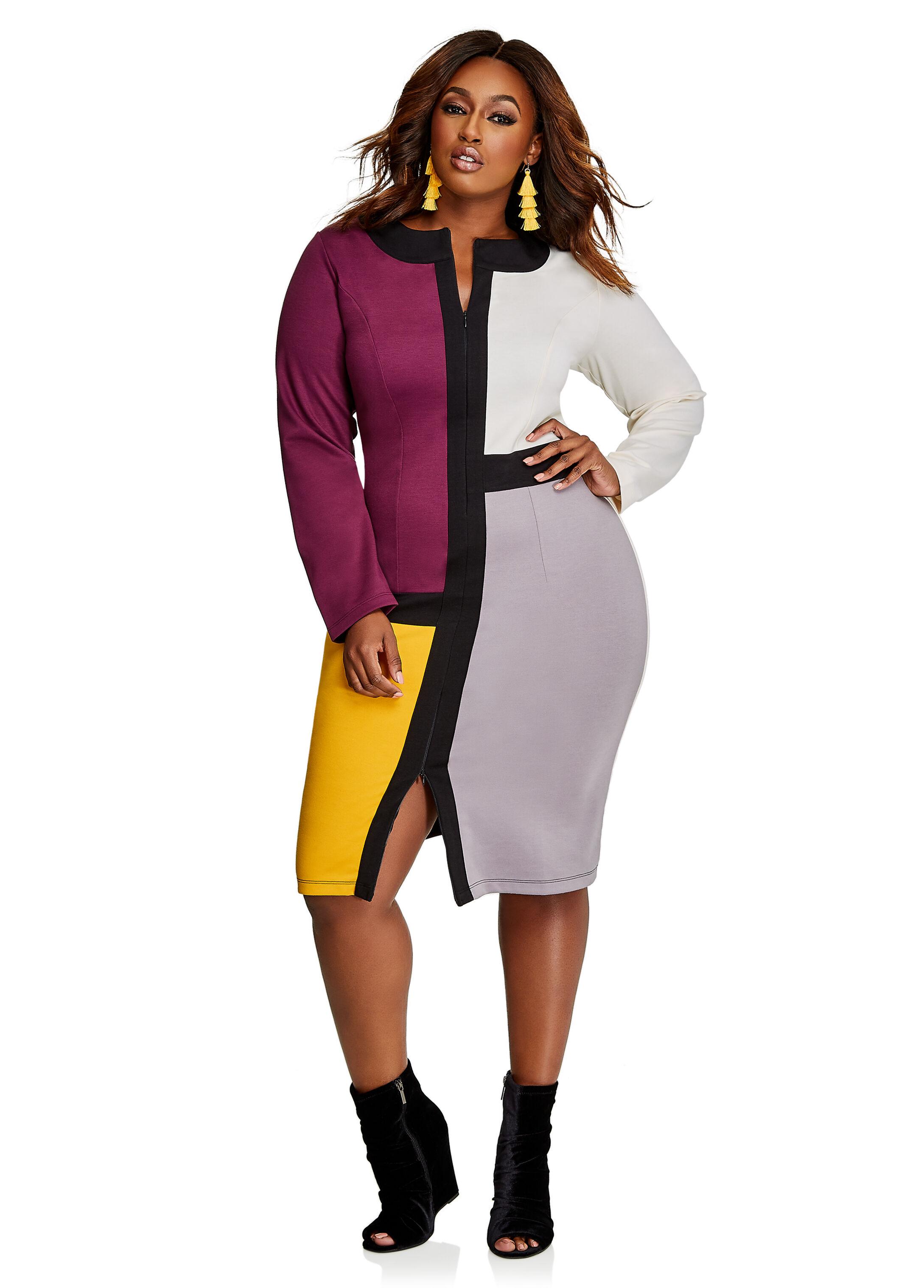 Zip Color Block Ponte Dress