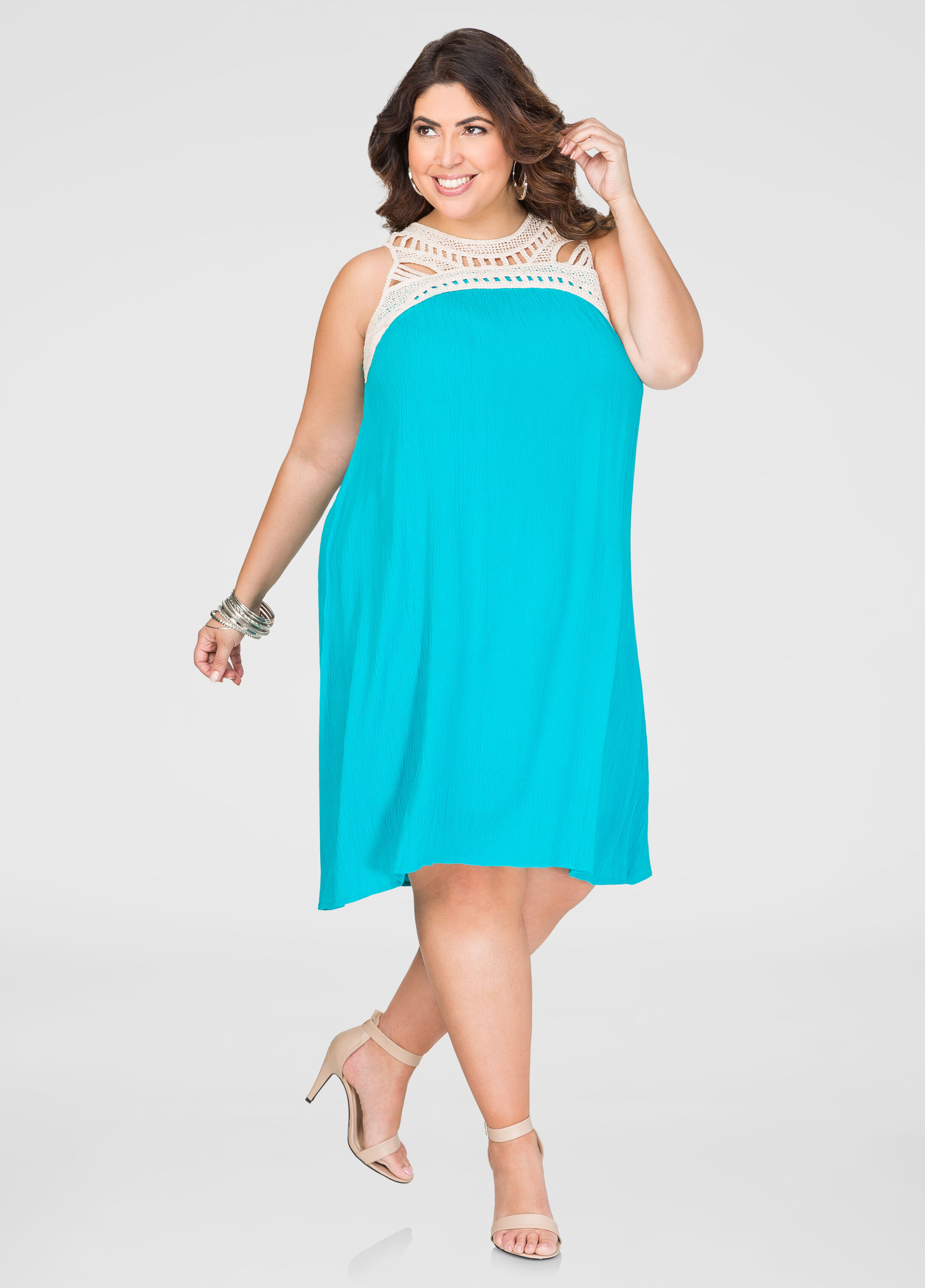 Gauze Crochet A-Line Dress