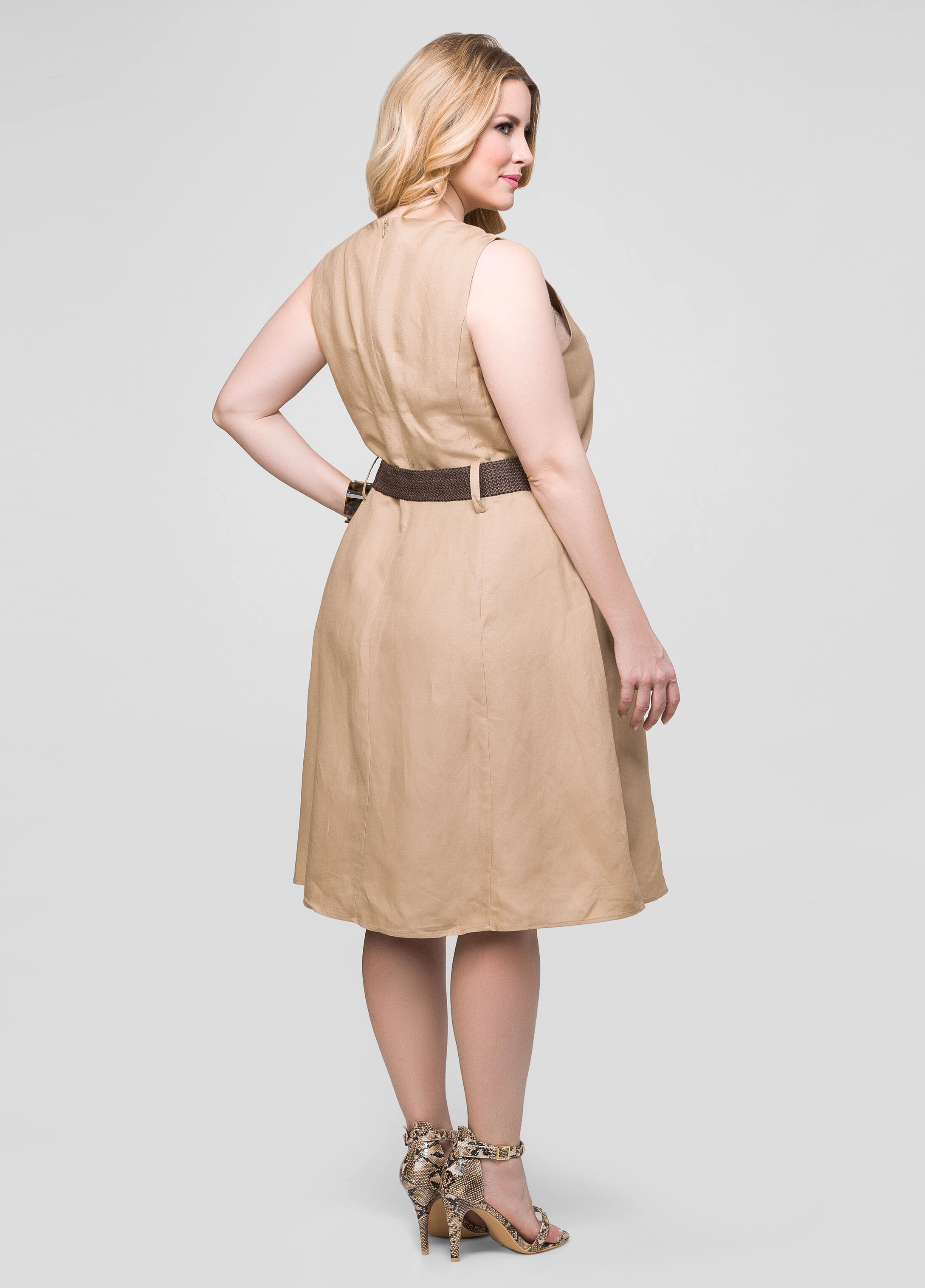 Belted A-Line Linen Dress