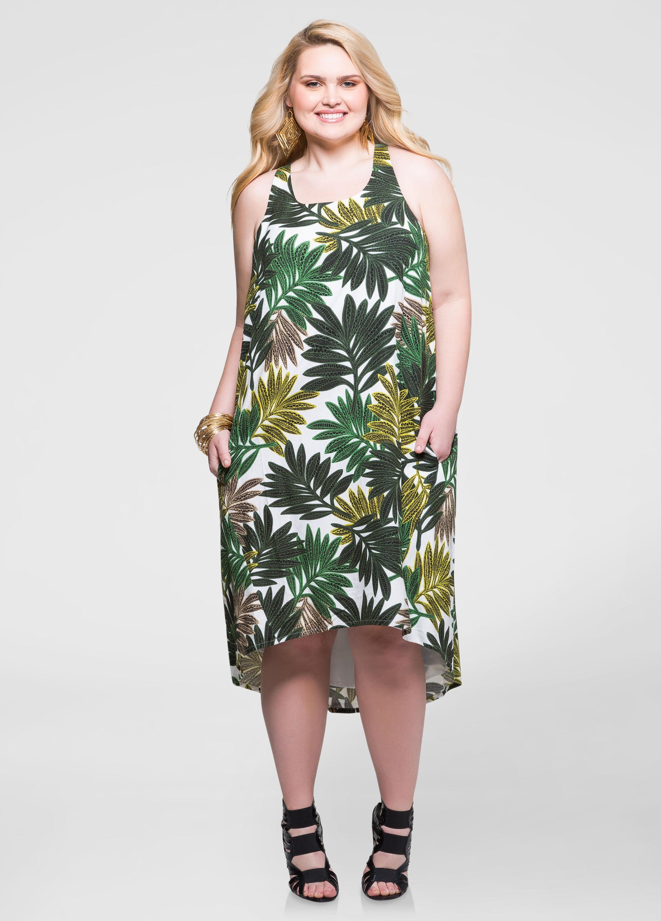 Palm Hi-Lo Linen Shift Dress