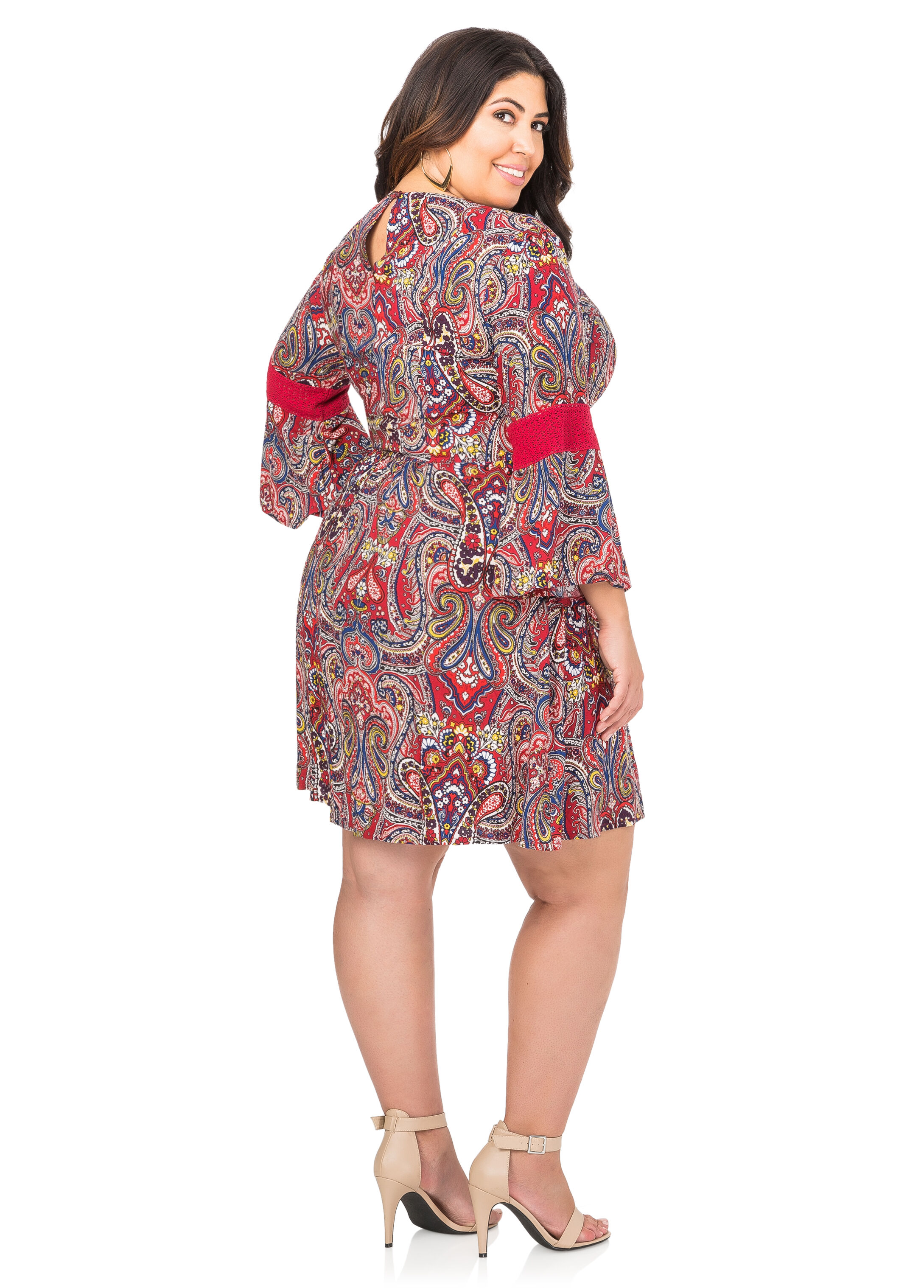 Crochet Bell Sleeve Paisley Dress