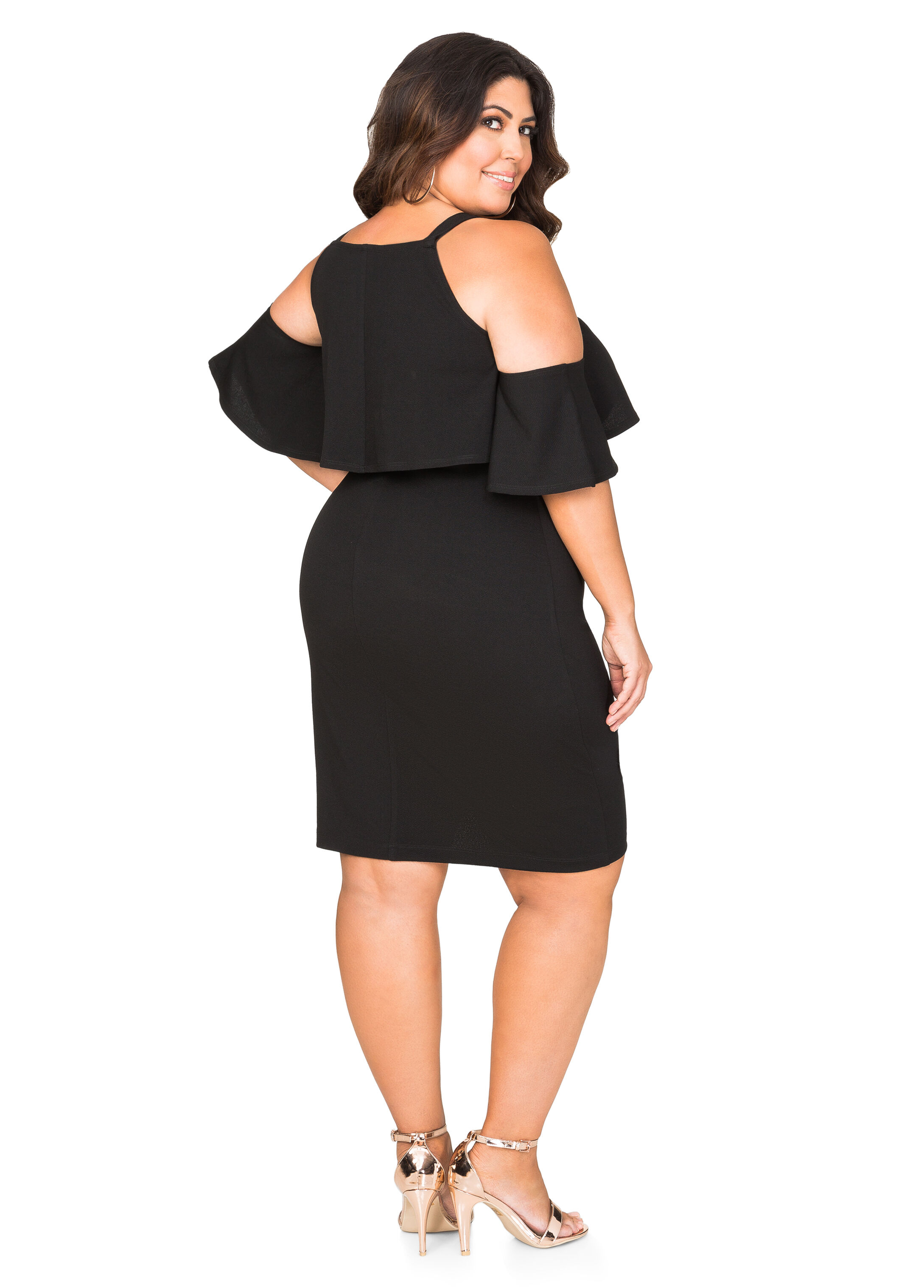 Flounce Cold Shoulder Dress
