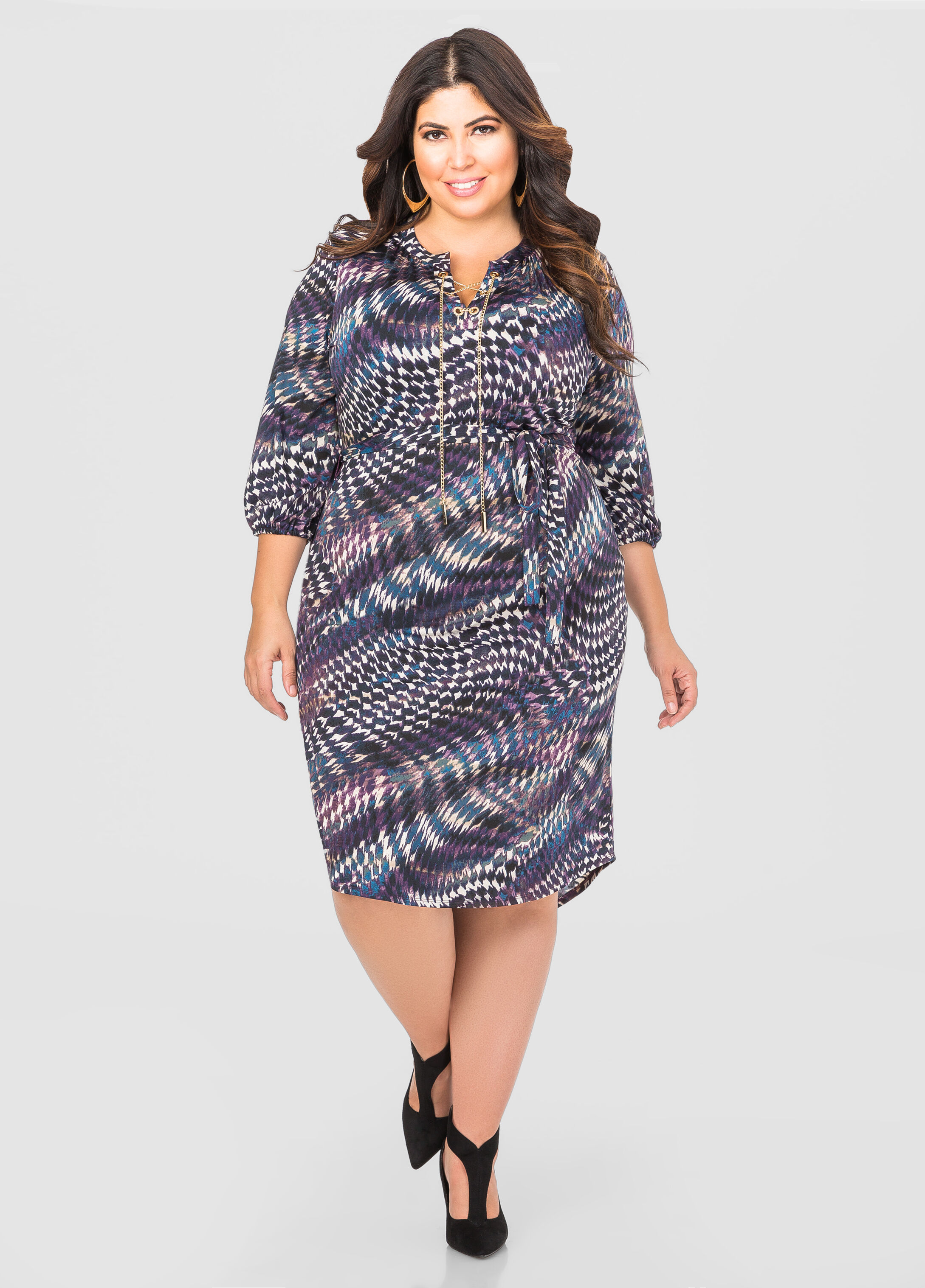 Printed Chain Lace-Up Shirtdress