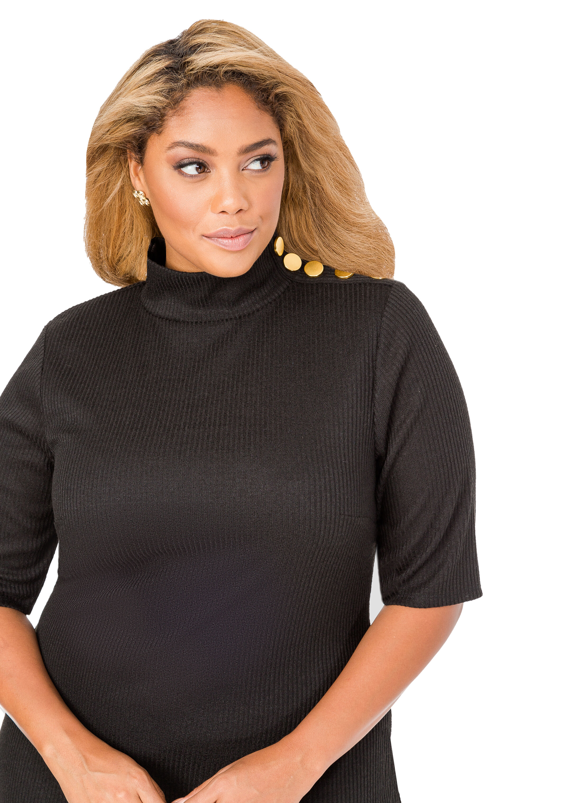 Button Detail Ribbed Sweater Dress