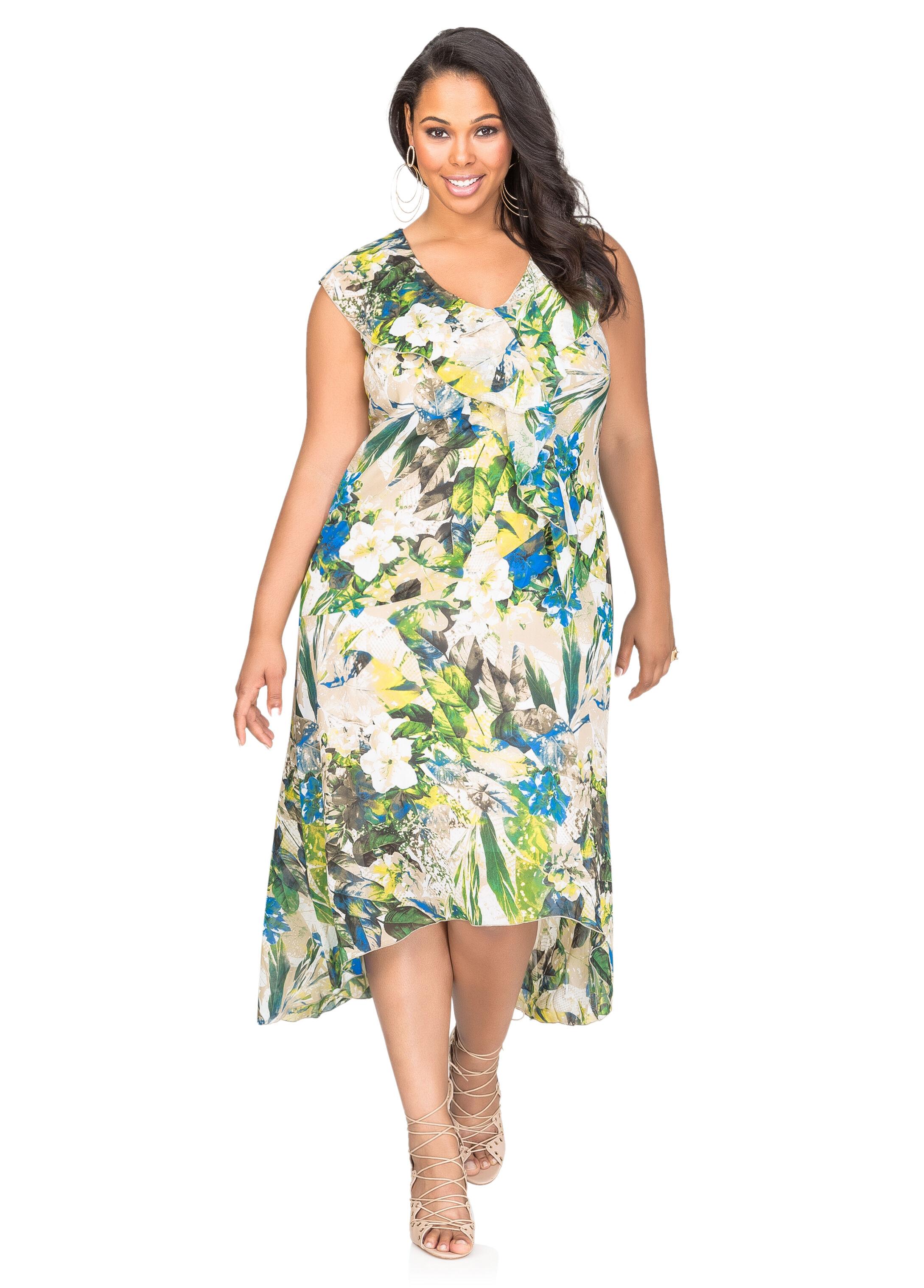 Printed Hi-Lo Flounce Maxi Dress