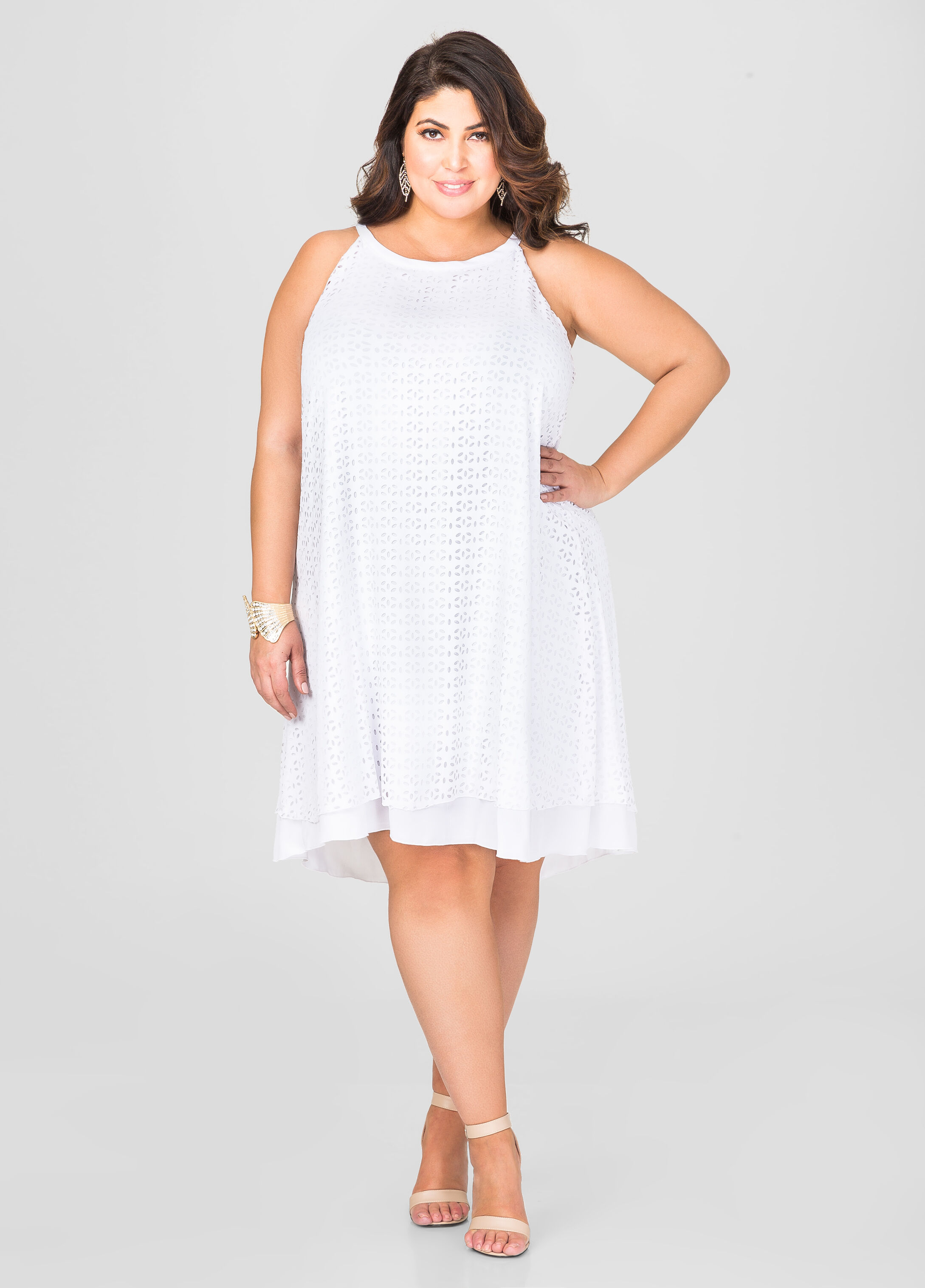 Laser cut trapeze dress plus size dresses ashley stewart for Ashley stewart wedding dresses