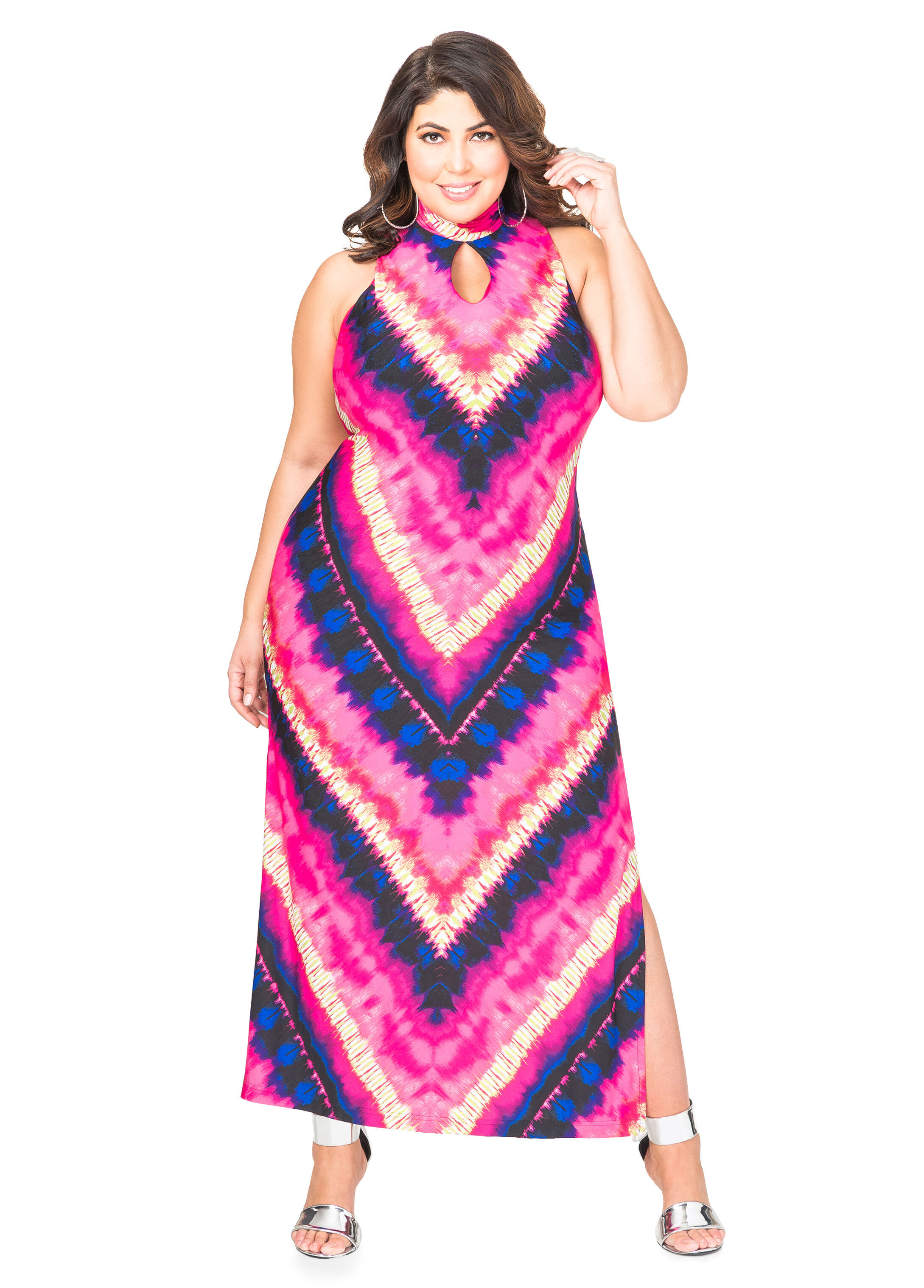Tie Dye Mock Neck Maxi Dress