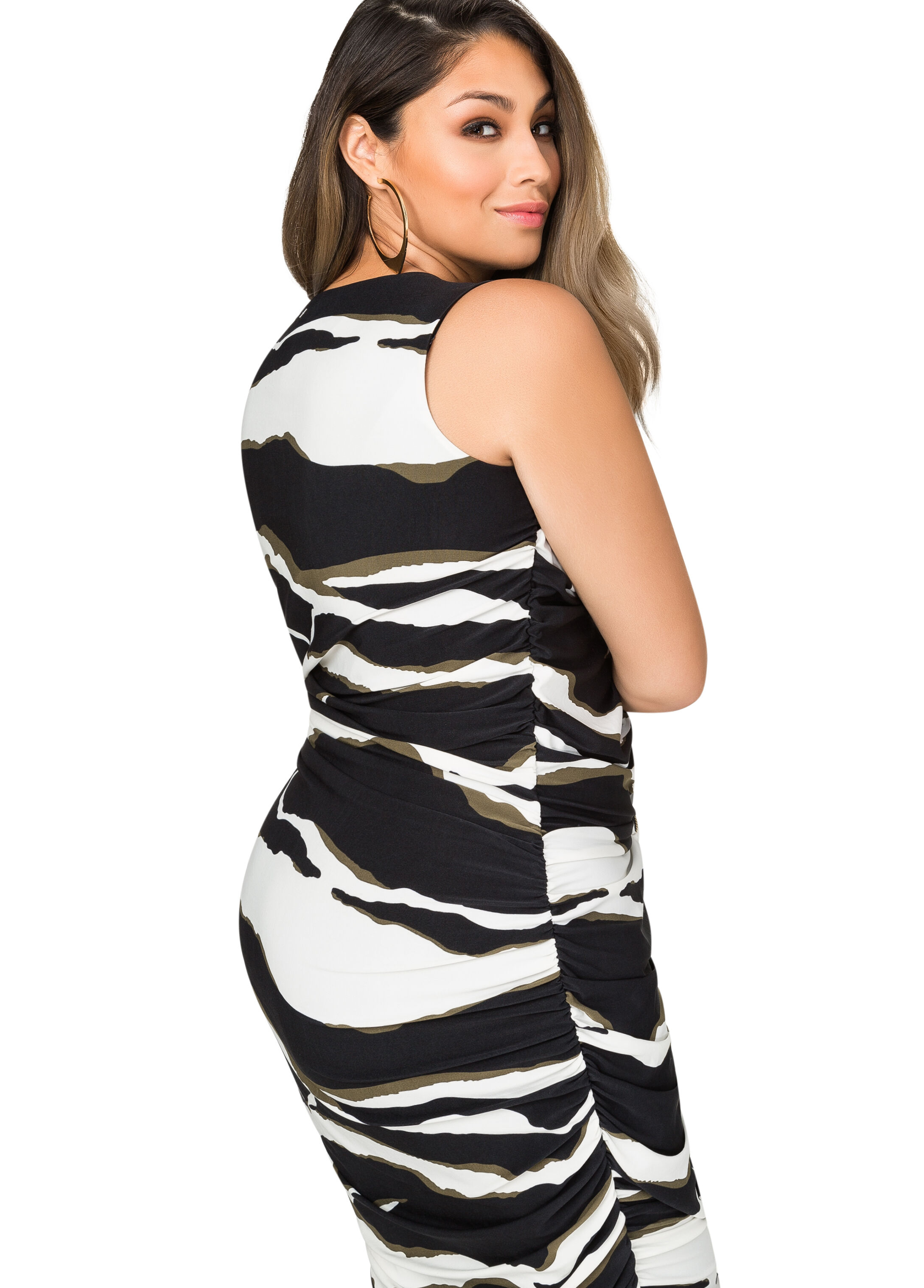 Printed Ruched Zip Front Dress
