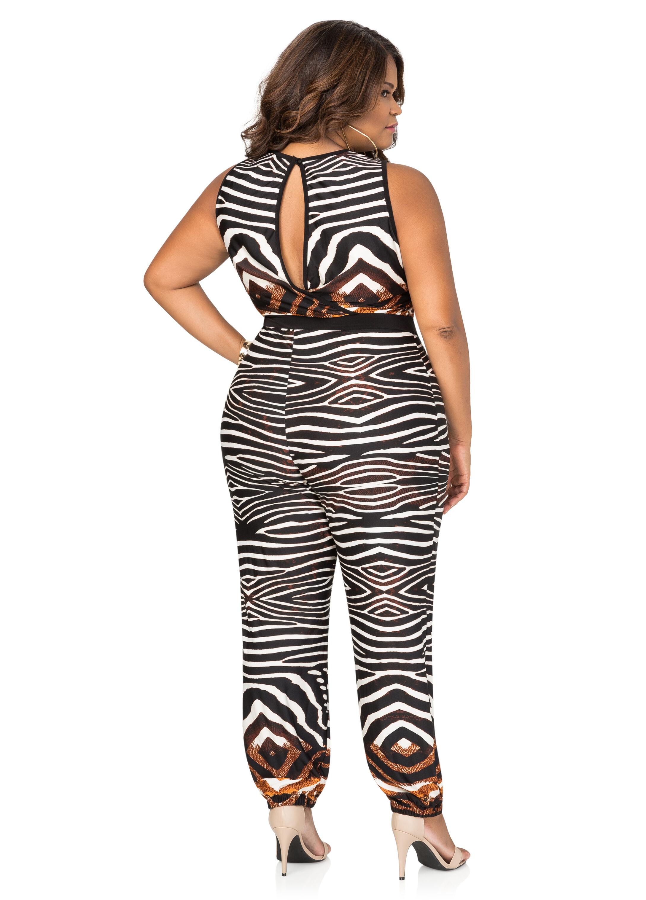 Mixed Zebra Jogger Jumpsuit
