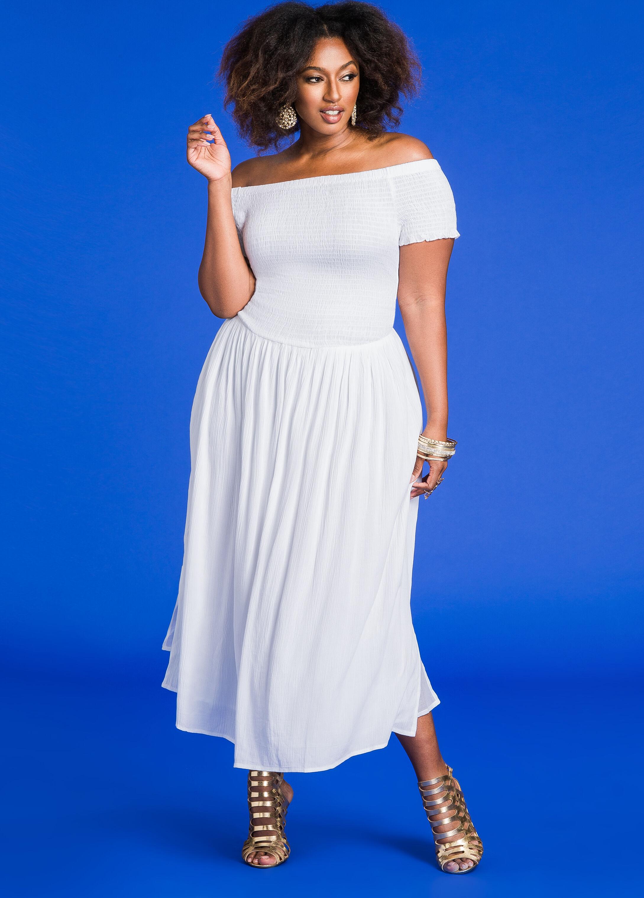 Smocked Top Off-Shoulder Maxi Dress