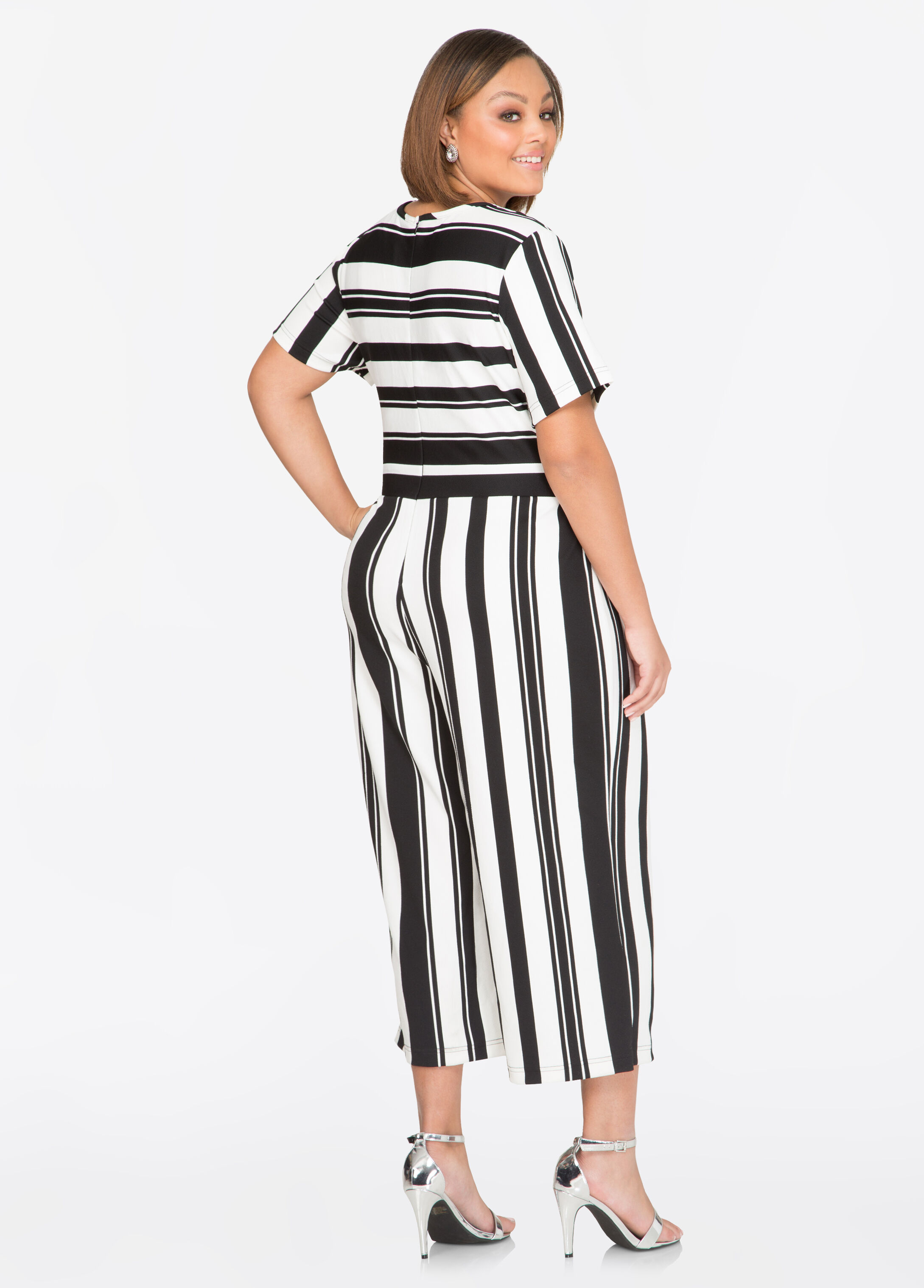 Striped D-Ring Gaucho Jumpsuit