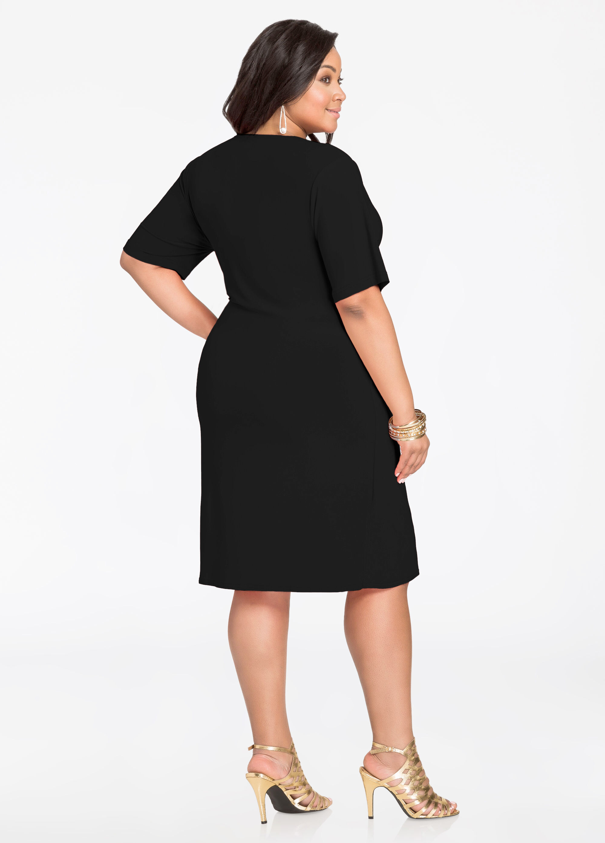 Elbow Sleeve Wrap Dress with Buckle