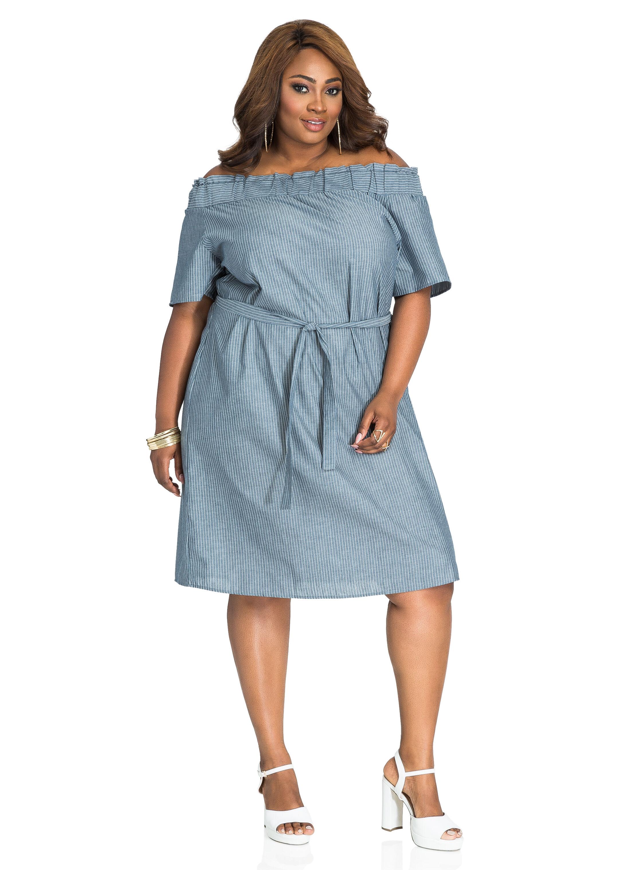 Pinstripe Off-Shoulder A-Line Dress