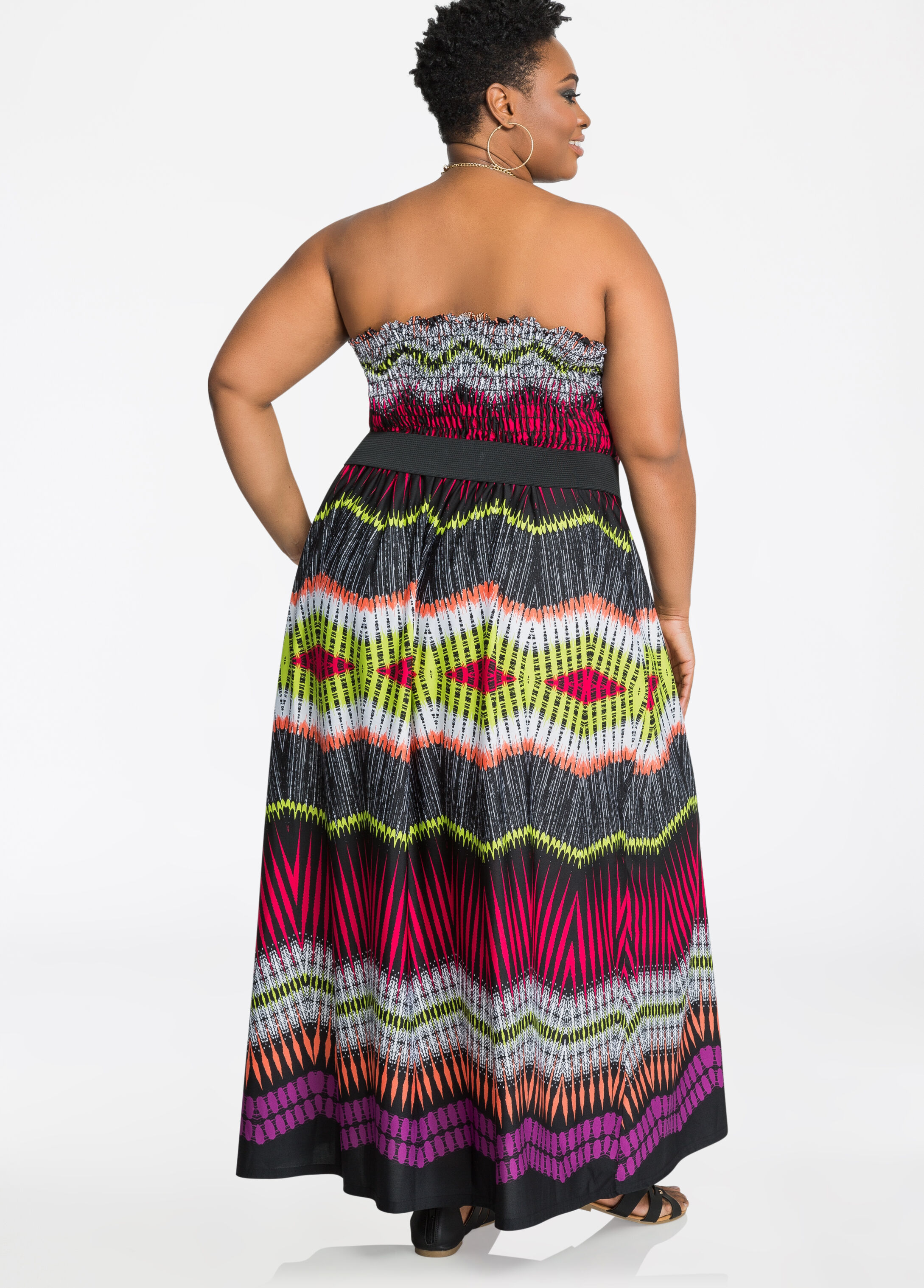 Strapless Belted Tribal Print Maxi Dress