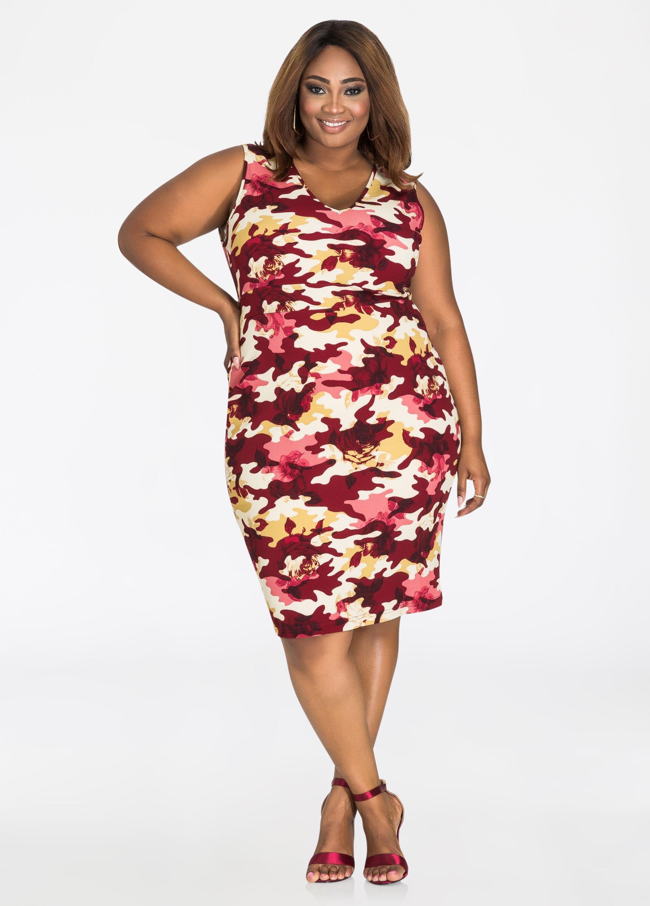 Camo Floral Empire Waist Dress