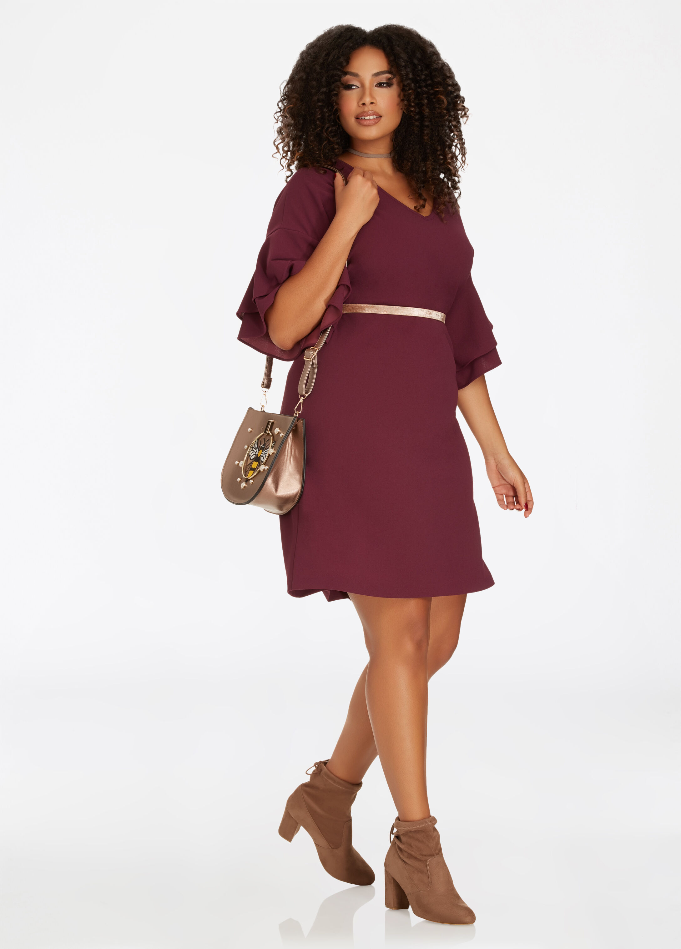 Double Ruffle Sleeve V-Neck Sheath Dress